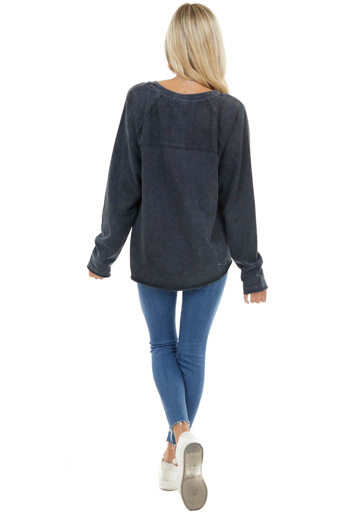Black Mineral Wash Long Sleeve Top with Raw Edge Details