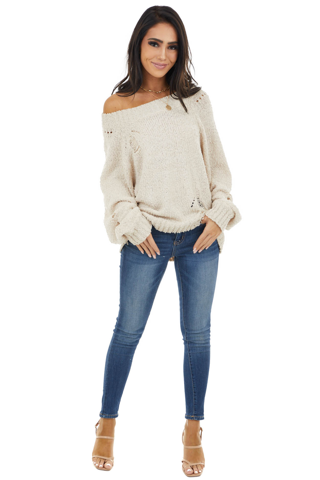 Oatmeal Sweater with Distressed Details and Bubble Sleeves