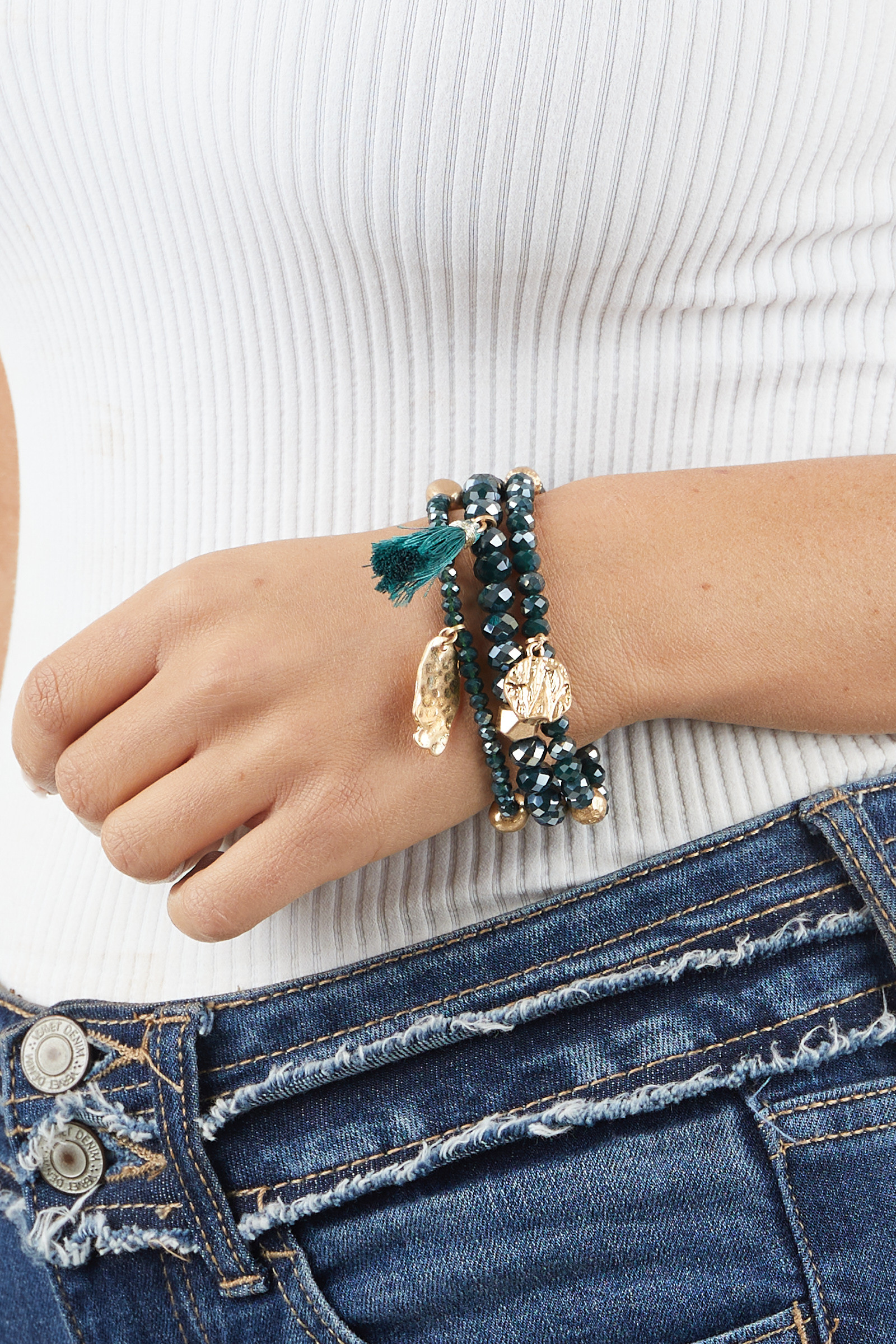 Teal and Gold Beaded Bracelet Set with Tassel and Charms