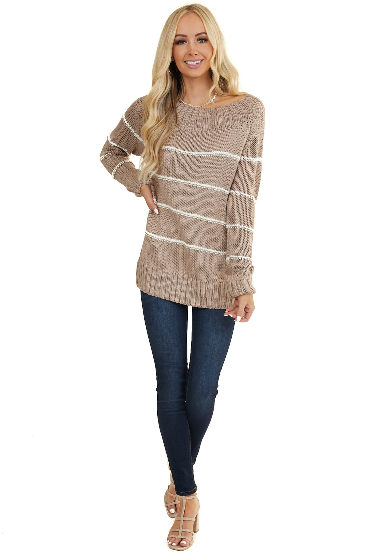 Taupe Striped Wide Neckline Chunky Knit Sweater