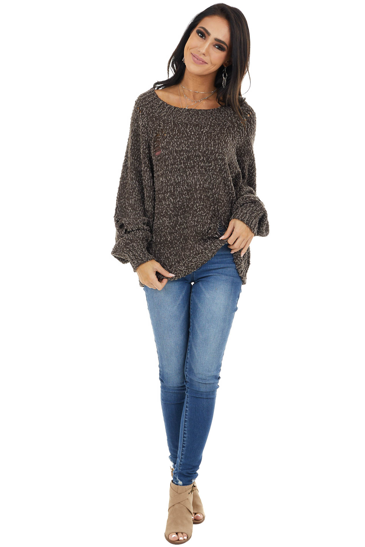 Coffee Sweater with Distressed Details and Bubble Sleeves