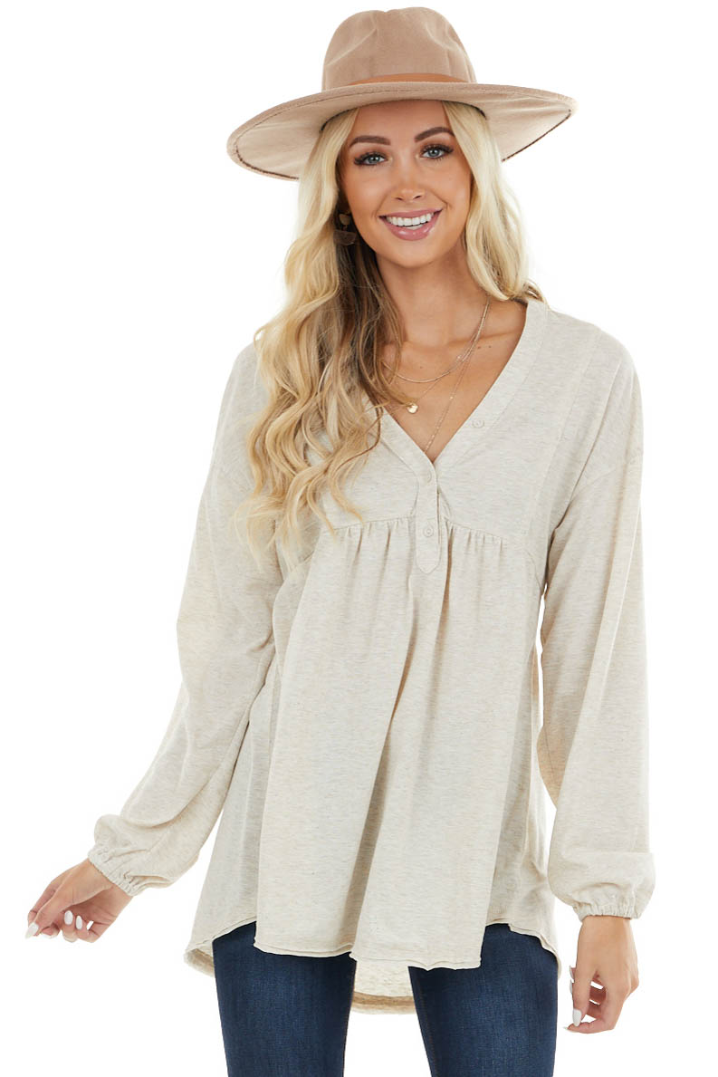 Heathered Oatmeal Oversized Top with Rainbow Speckles