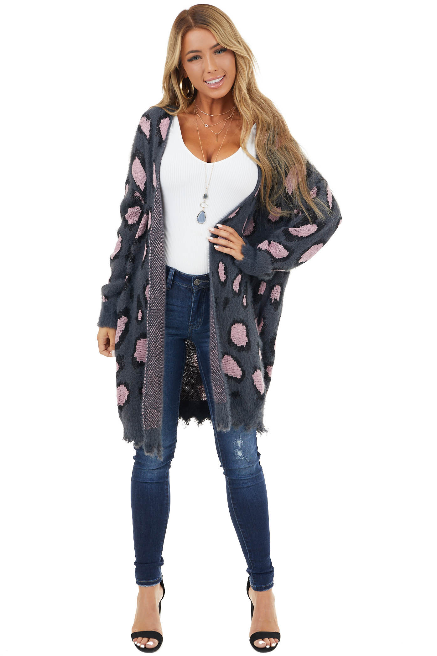Charcoal and Pink Leopard Print Open Front Cardigan