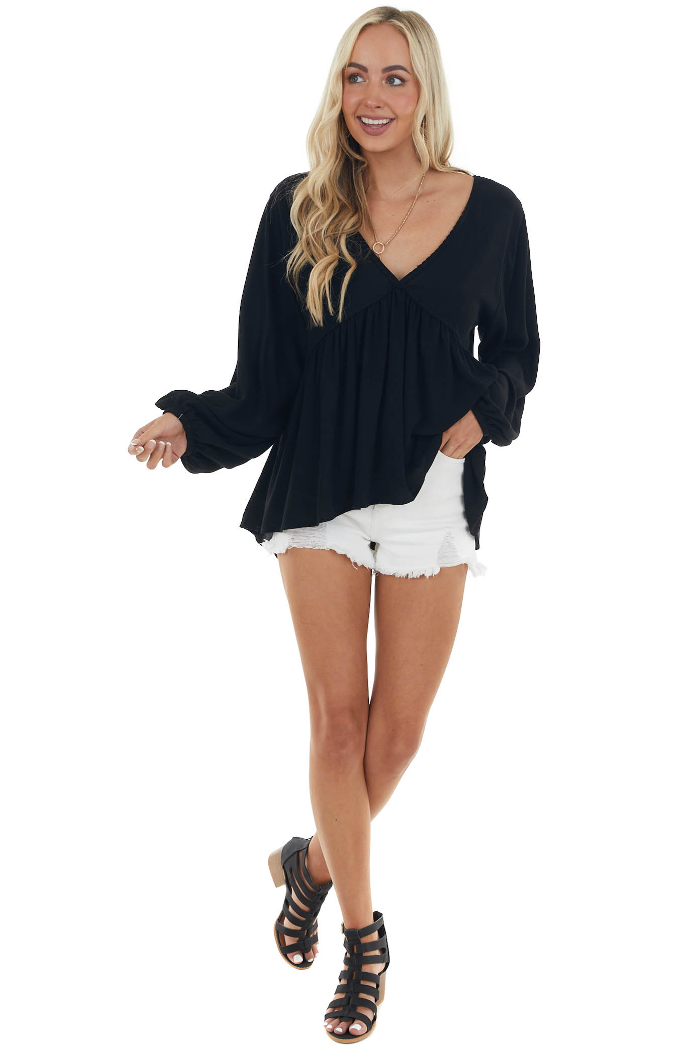 Black Drop Waist Top with Tied Back and Bubble Sleeves