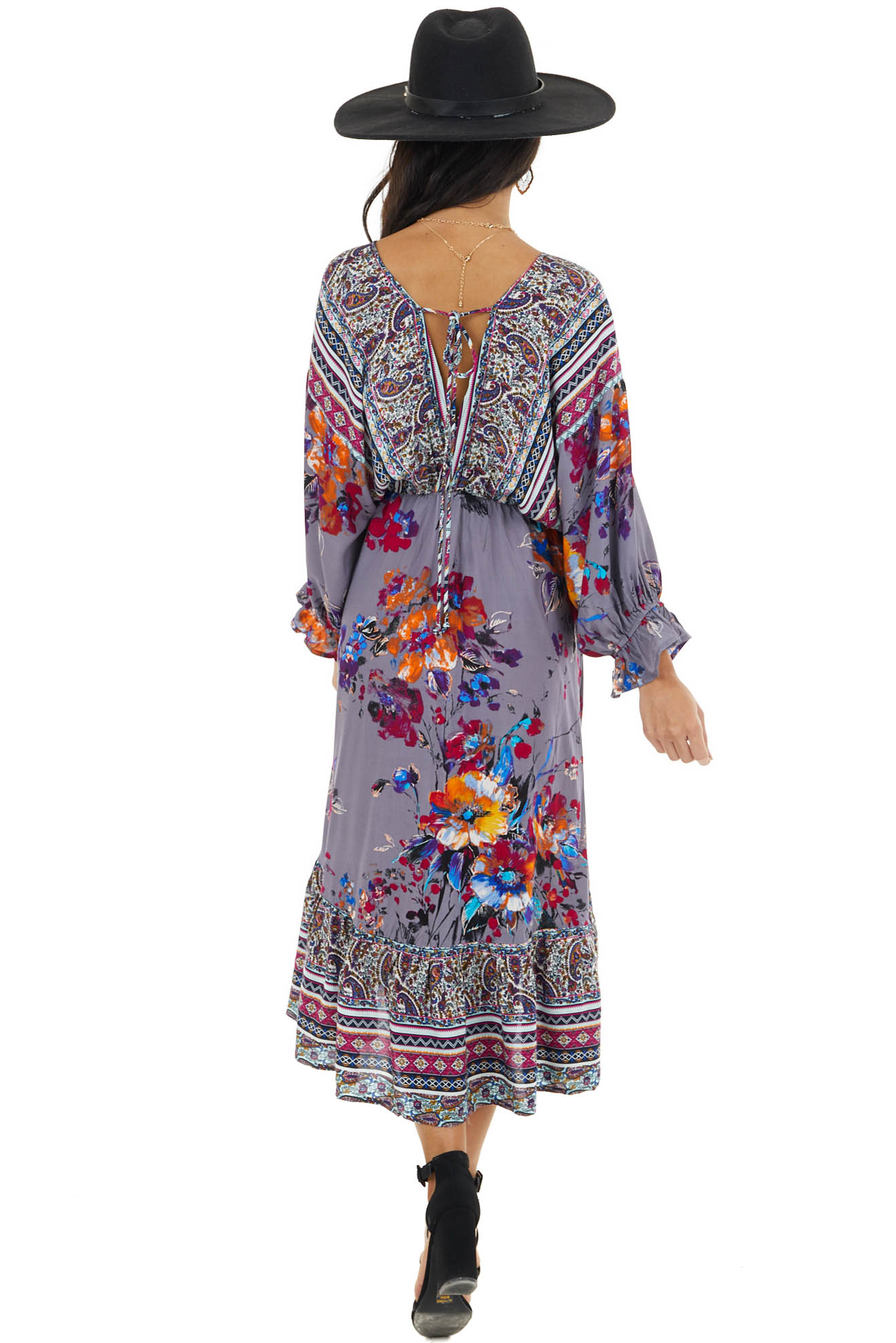 Slate Grey Floral Print Dress with Multiprint Contrasts