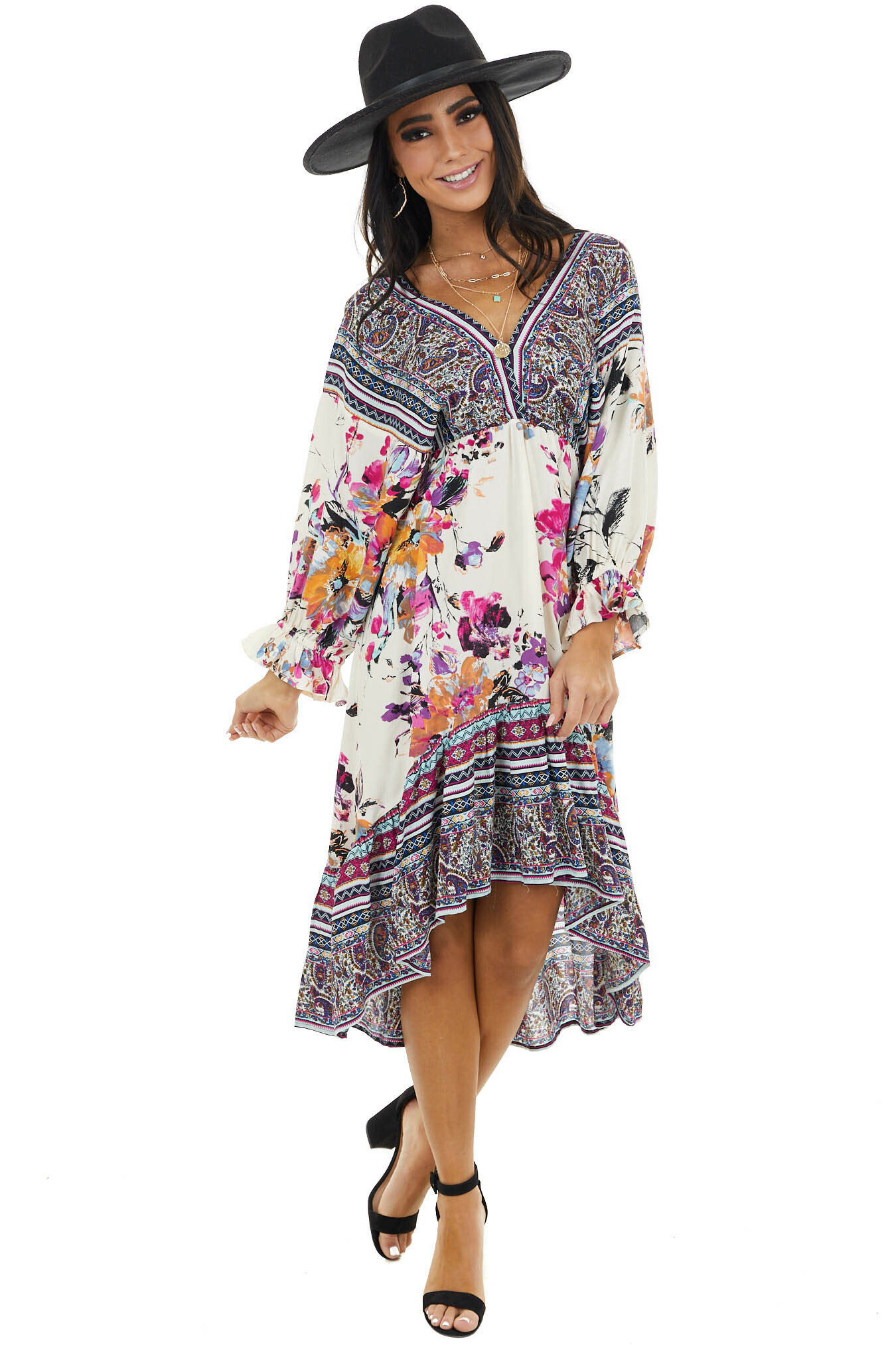 Off White Floral Print Dress with Multiprint Contrasts