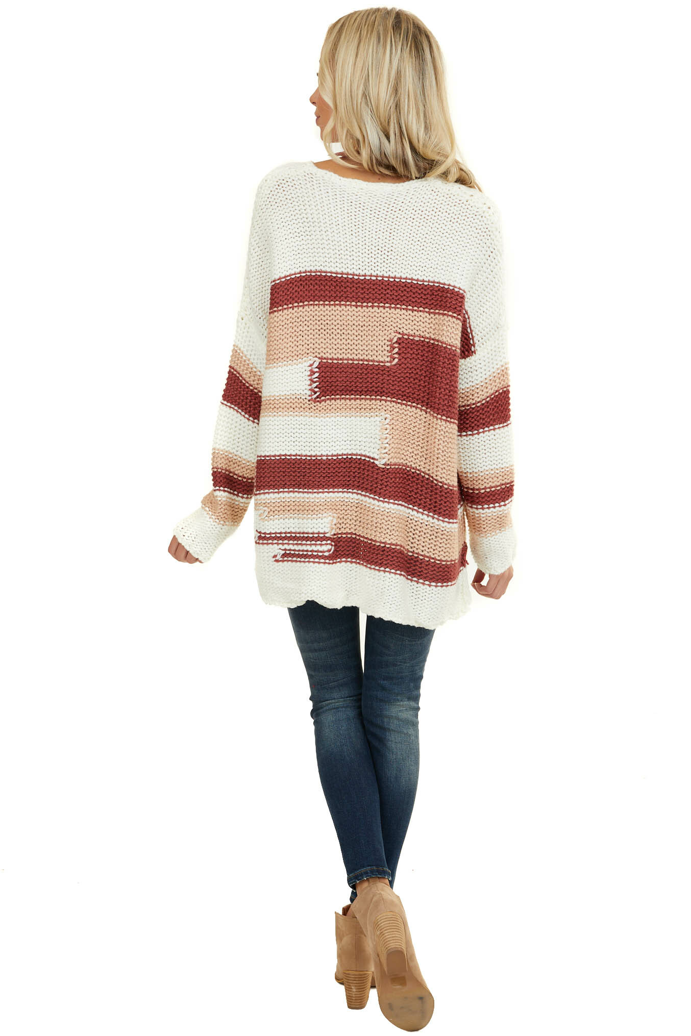 Rust Patterned Chunky Knit Sweater with Fringe Hemline