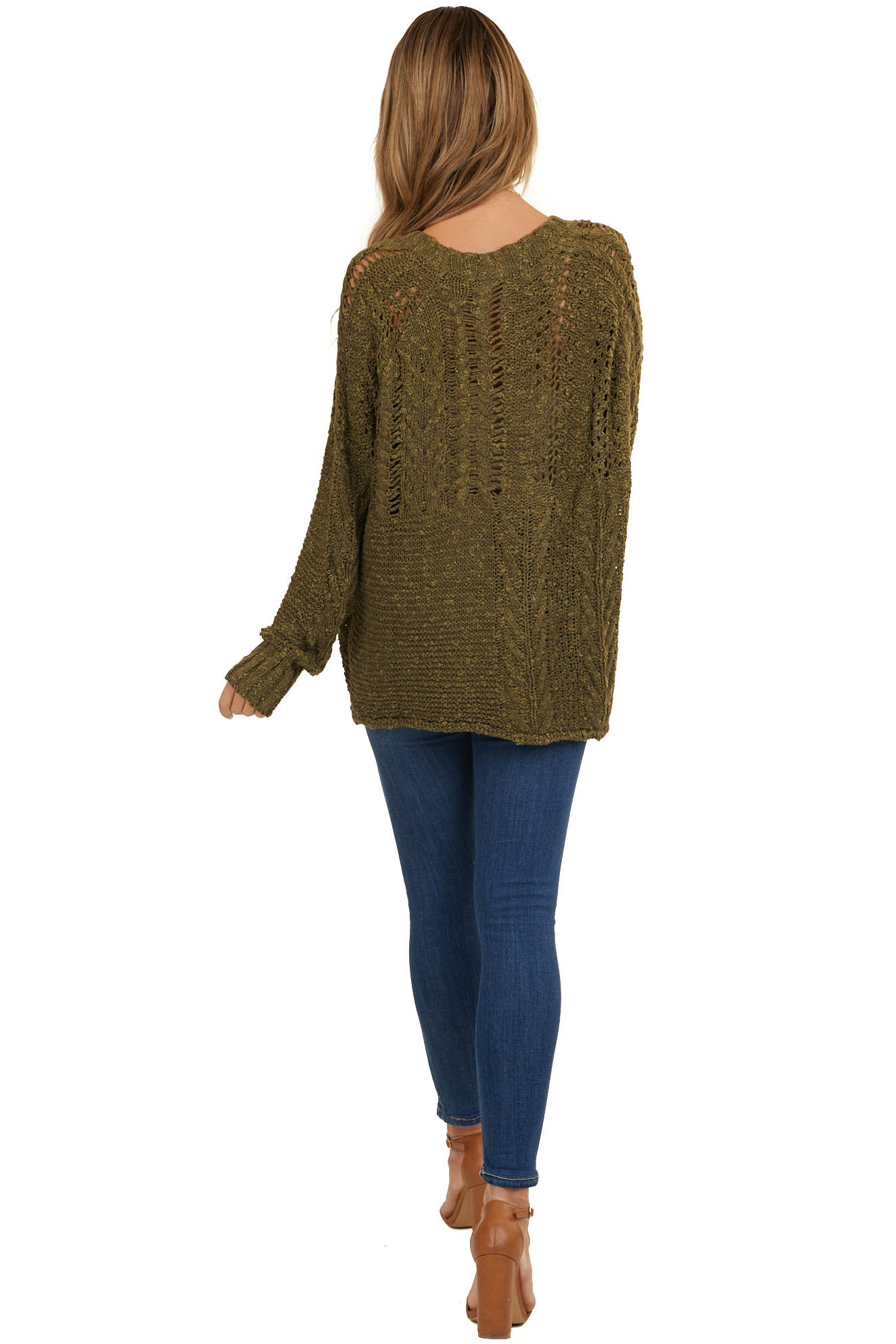 Dark Olive Oversize Raglan Sweater with Loose Knit Details