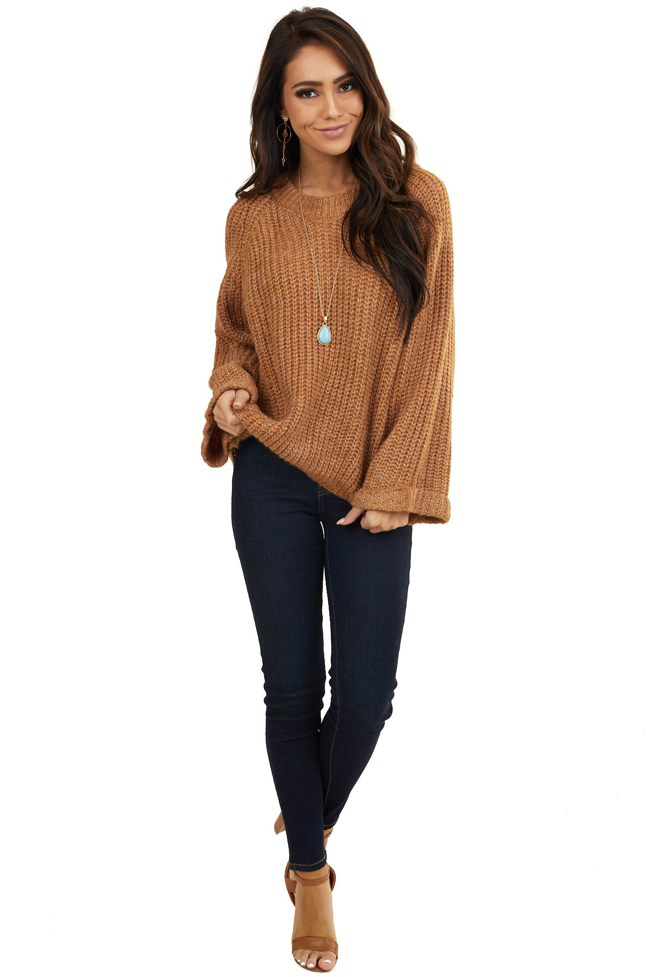Caramel Oversized Sweater with Long Cuffed Flowy Sleeves v