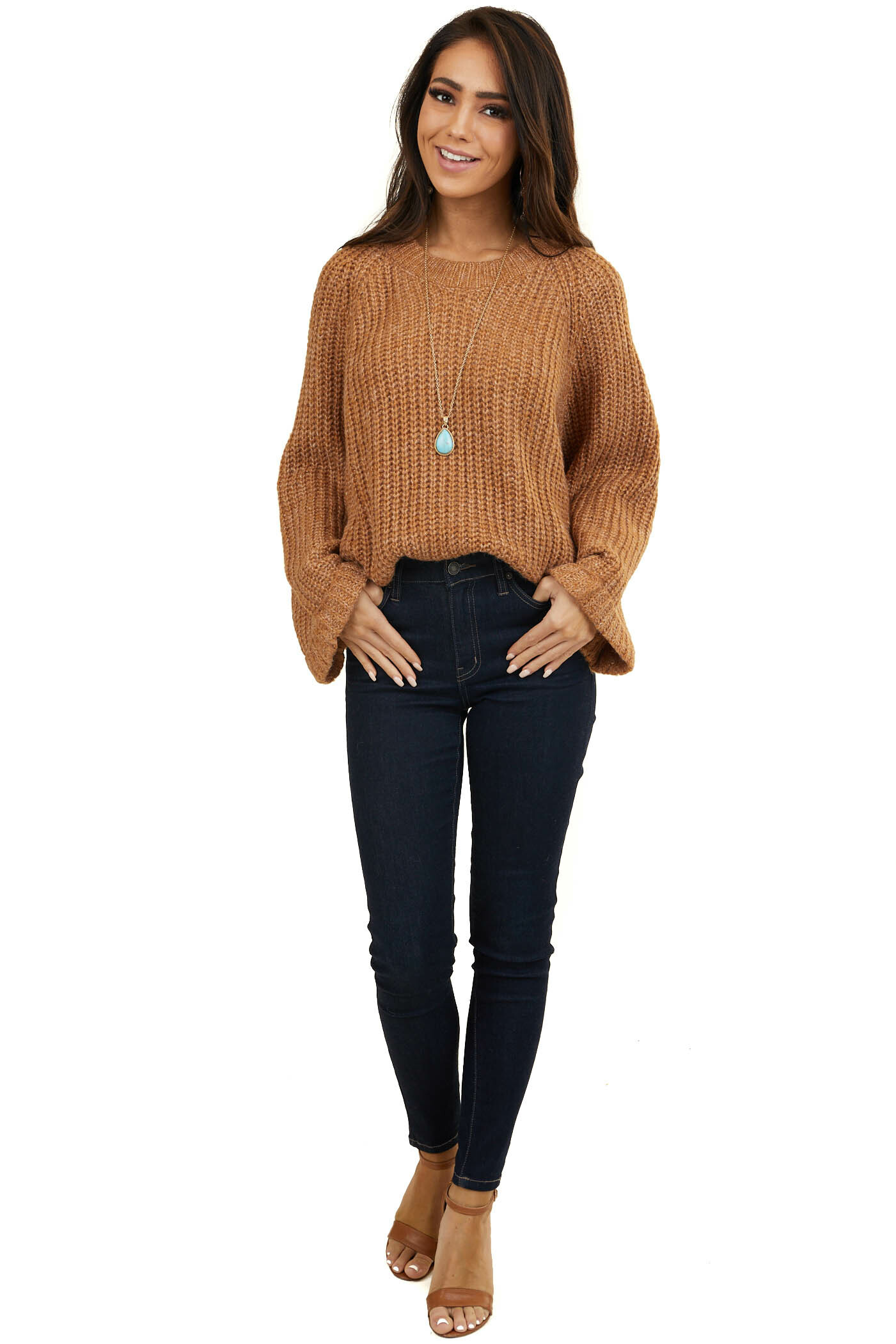 Caramel Oversized Sweater with Long Cuffed Flowy Sleeves
