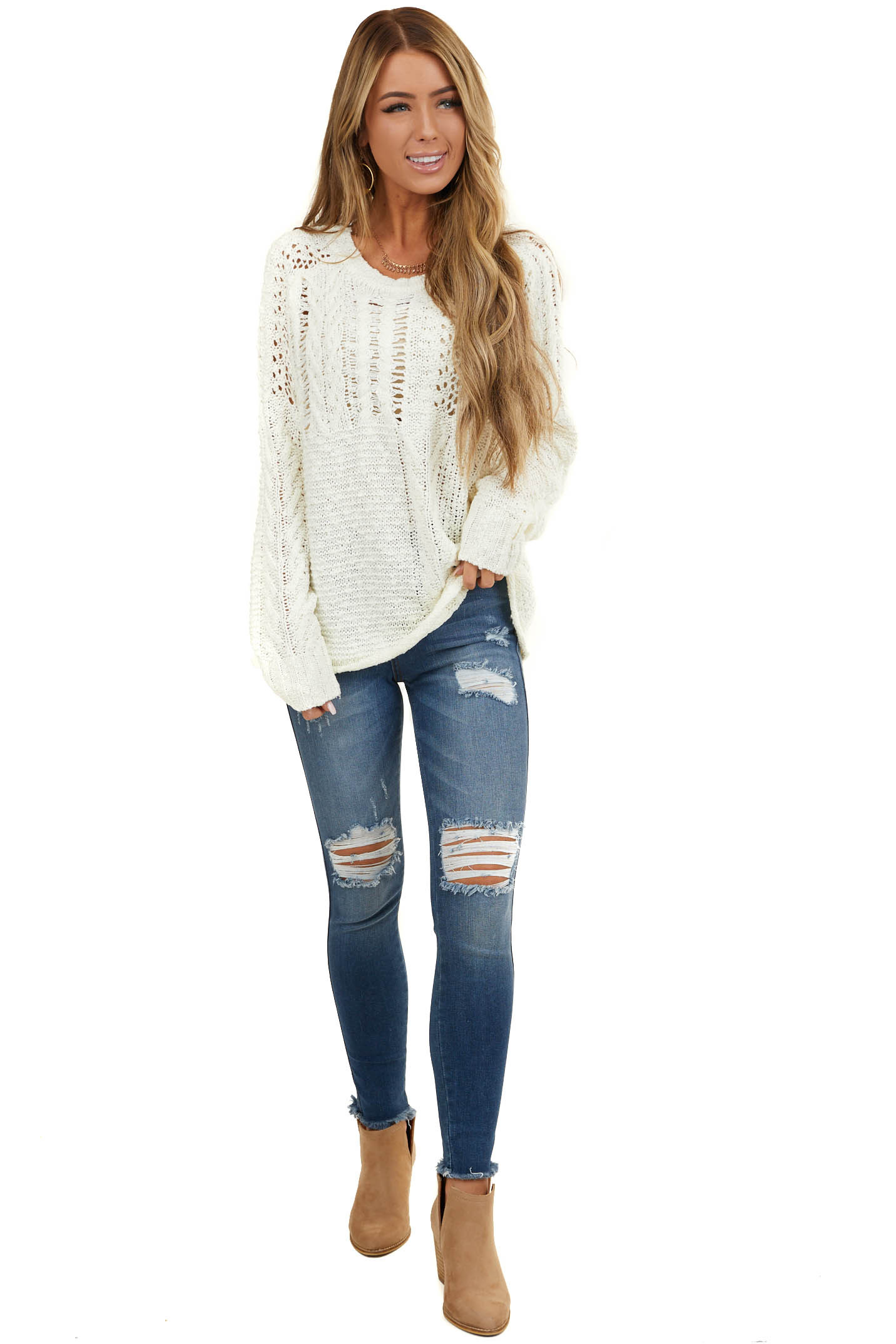 Cream Oversize Raglan Sweater with Loose Knit Details
