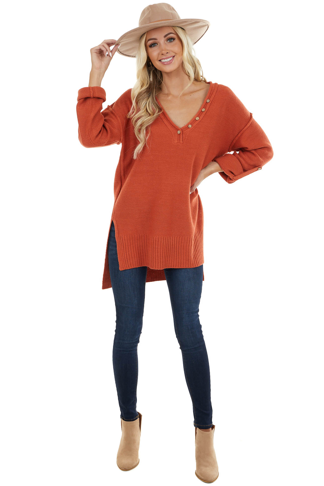 Terracotta V Neck Knit Sweater with Wood Button Details