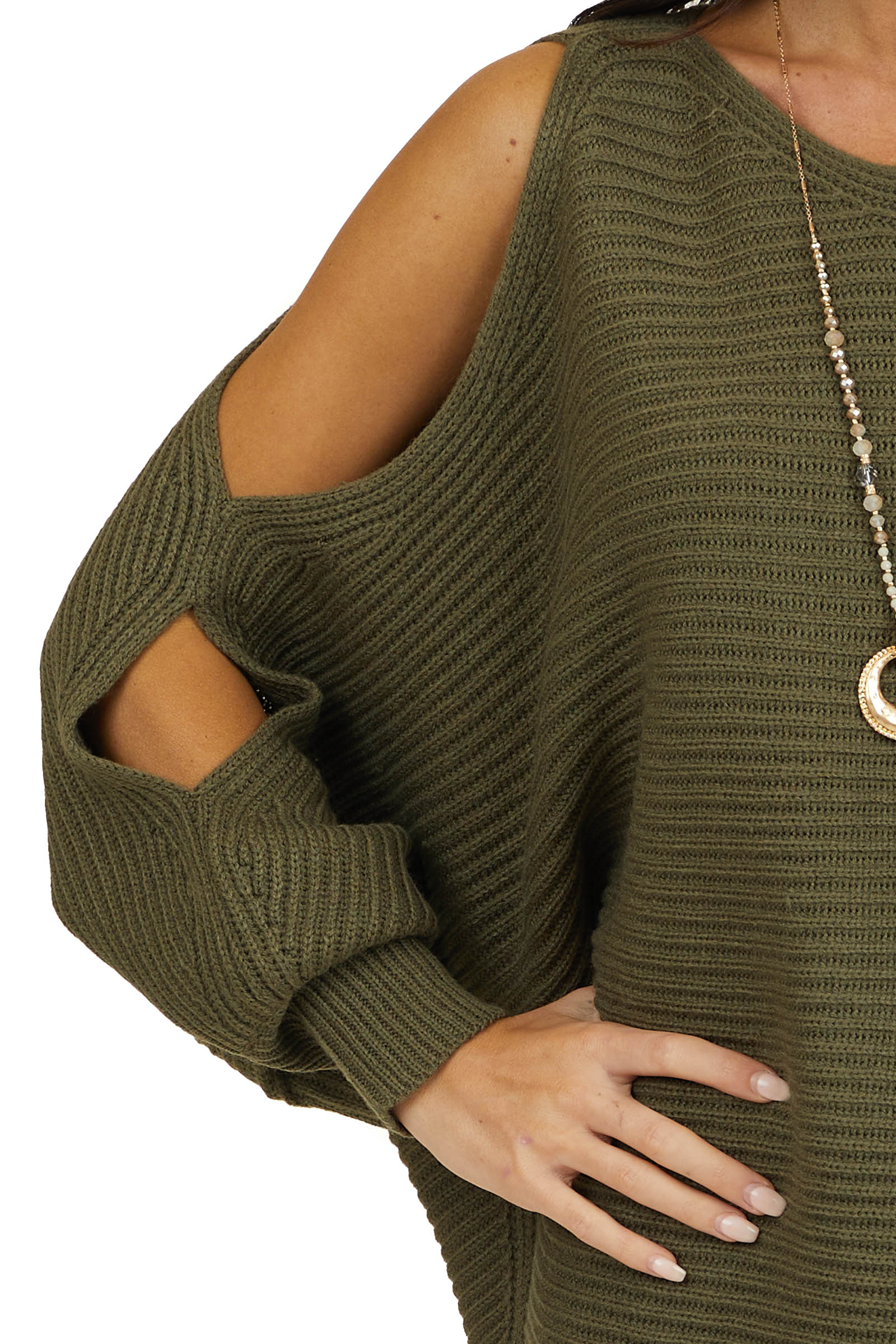Hunter Green Cold Shoulder Sweater with Forearm Cut Outs