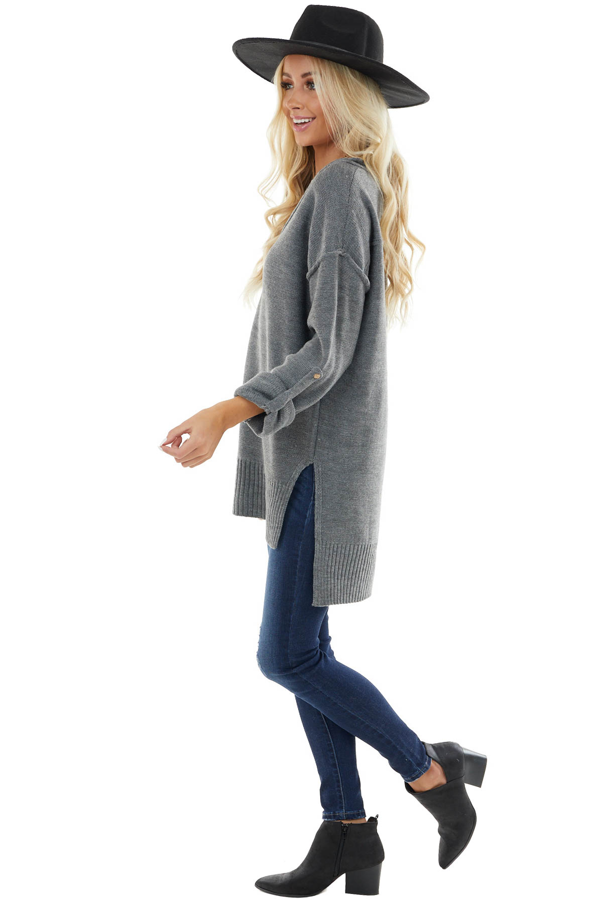Light Charcoal V Neck Knit Sweater with Wood Button Details