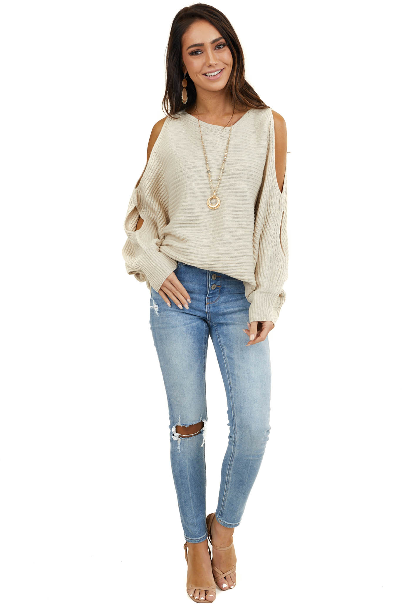 Light Latte Cold Shoulder Sweater with Forearm Cut Outs