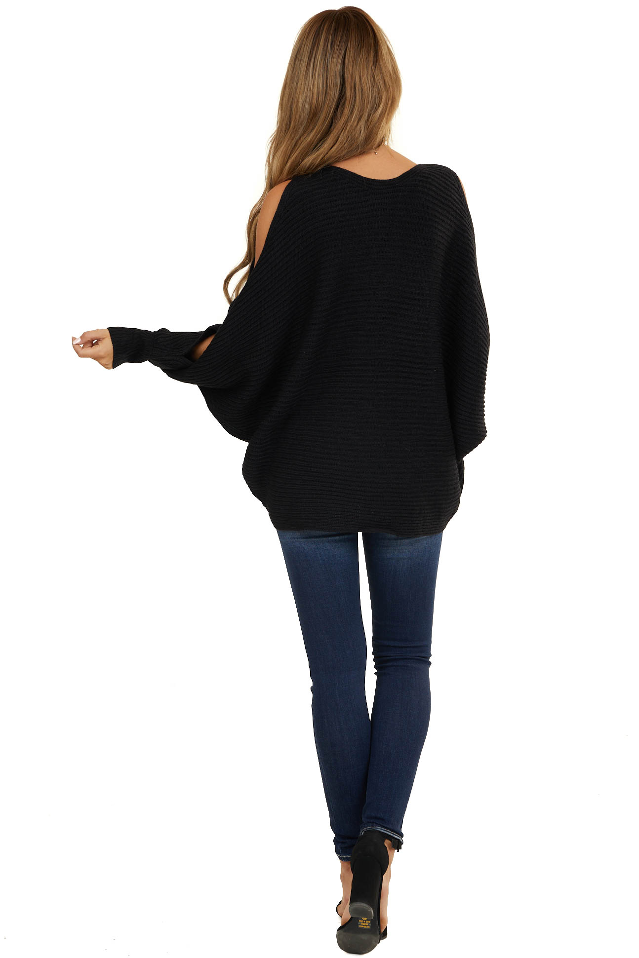 Black Cold Shoulder Sweater with Forearm Cut Outs