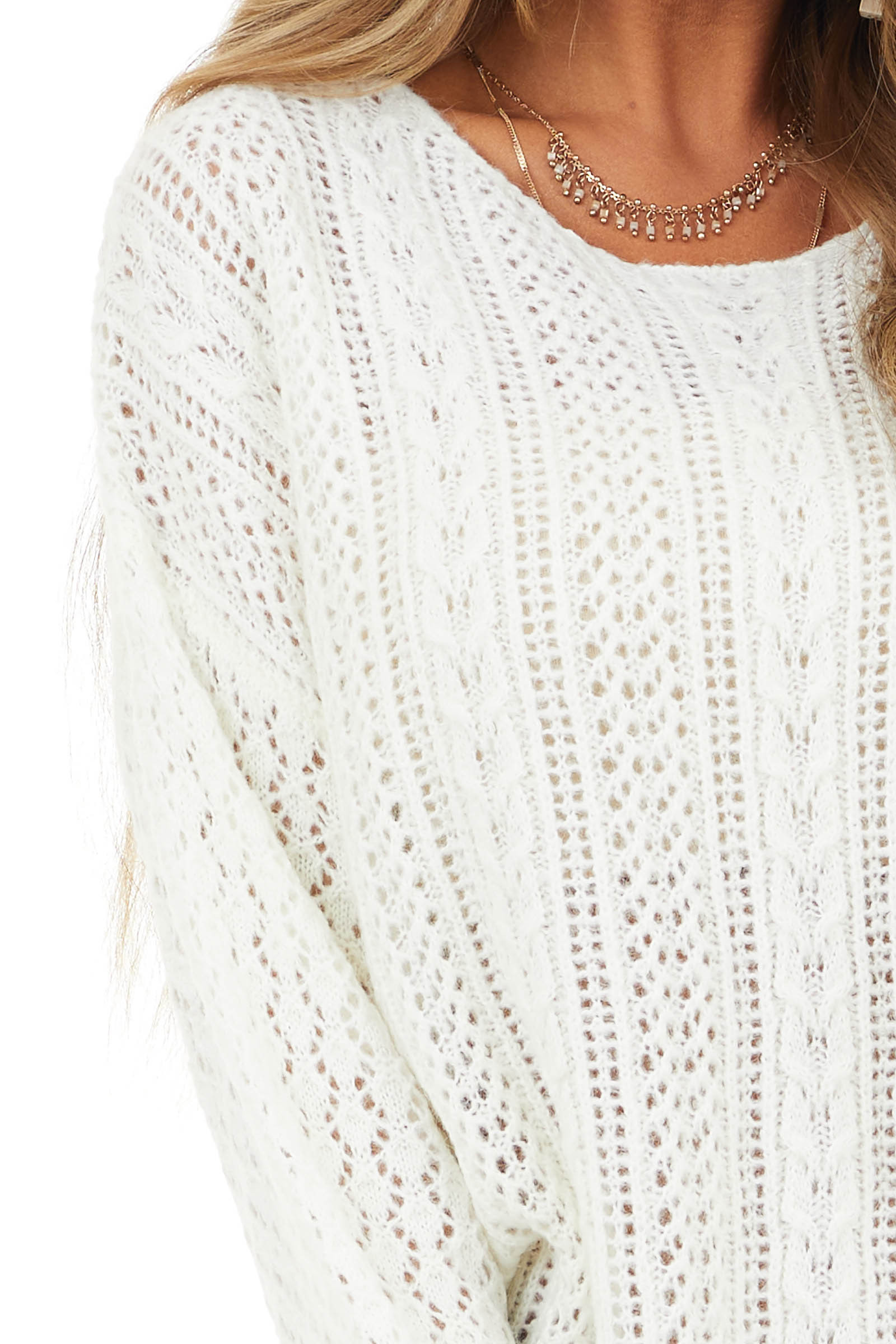 Ivory Cable Knit Long Sleeve Sweater with Ribbed Details