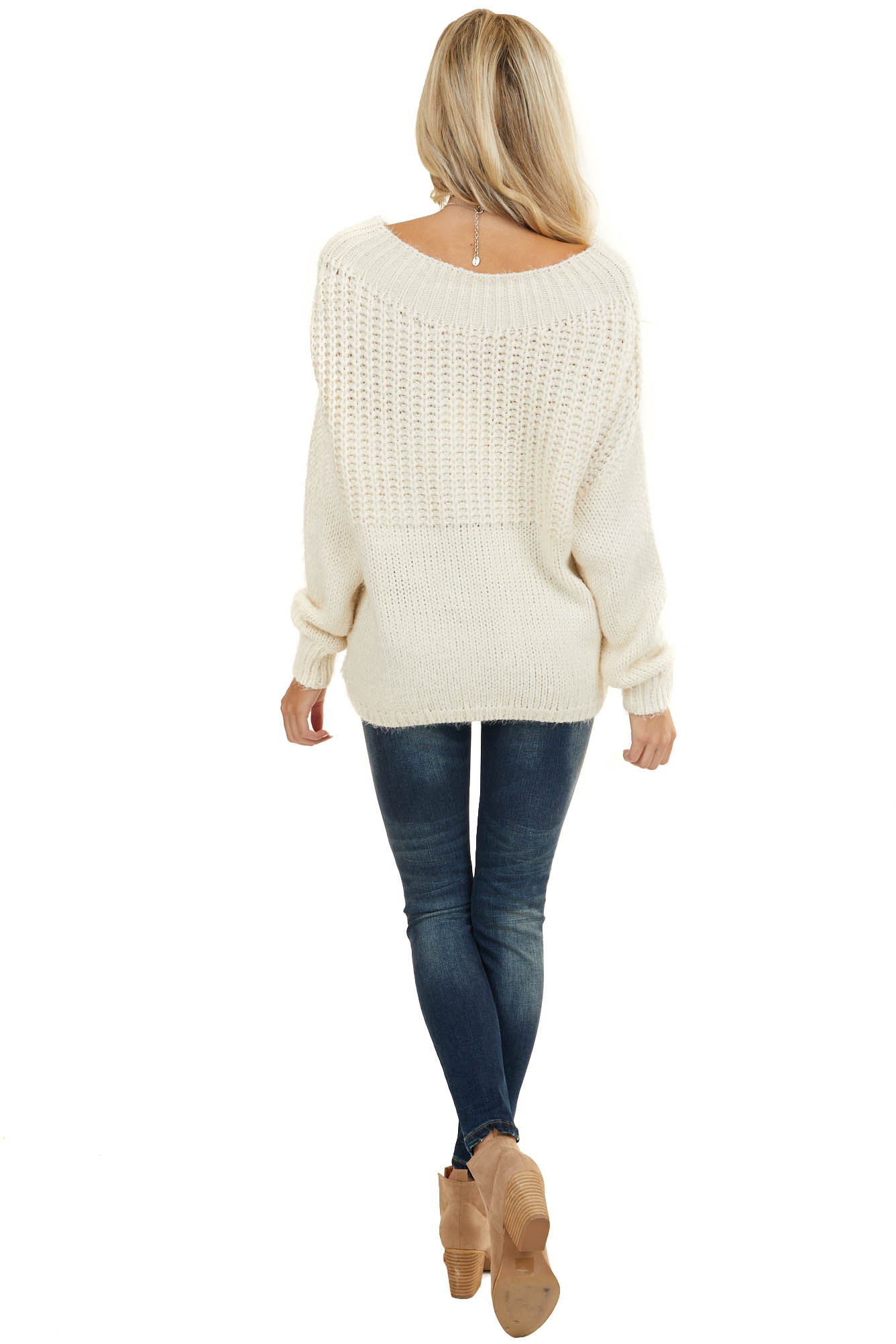 Ivory Boat Neck Multi Fuzzy Knit Sweater with Ribbed Trim