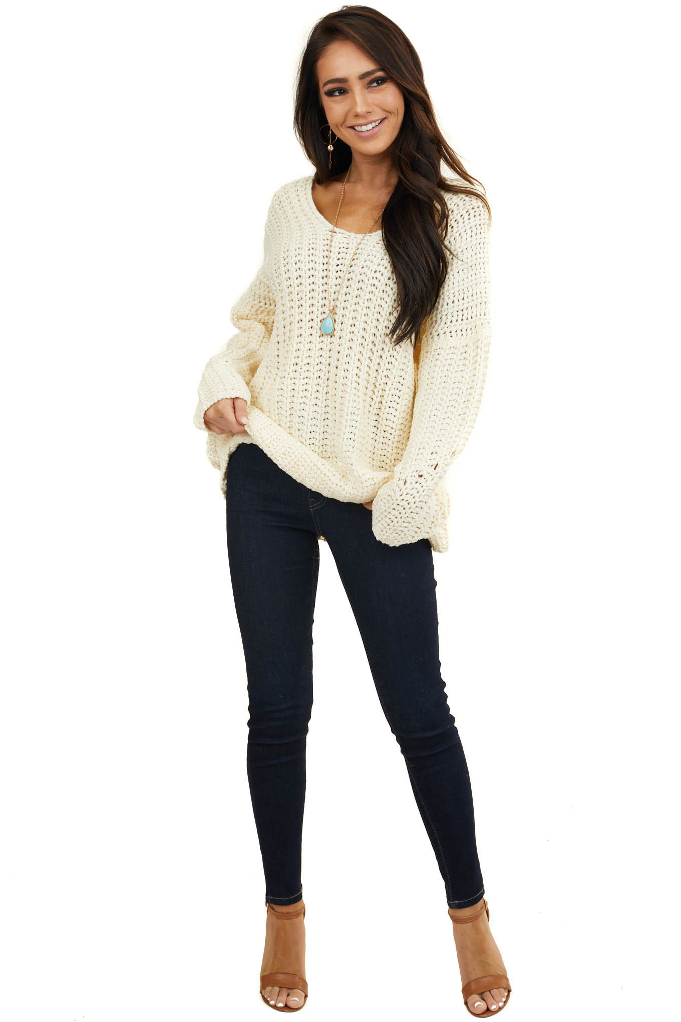 Cream Chunky Knit Drop Shoulder Sweater with Deep V Neck