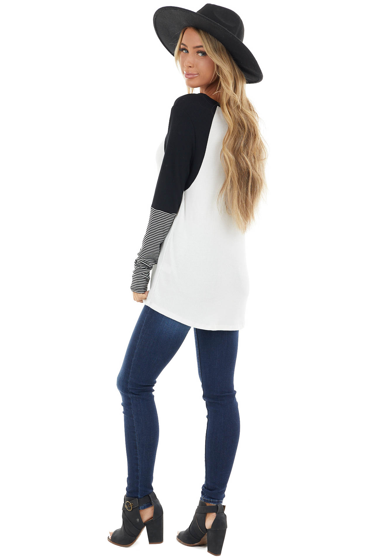 White and Black Long Striped Sleeve Knit Top with V Neckline