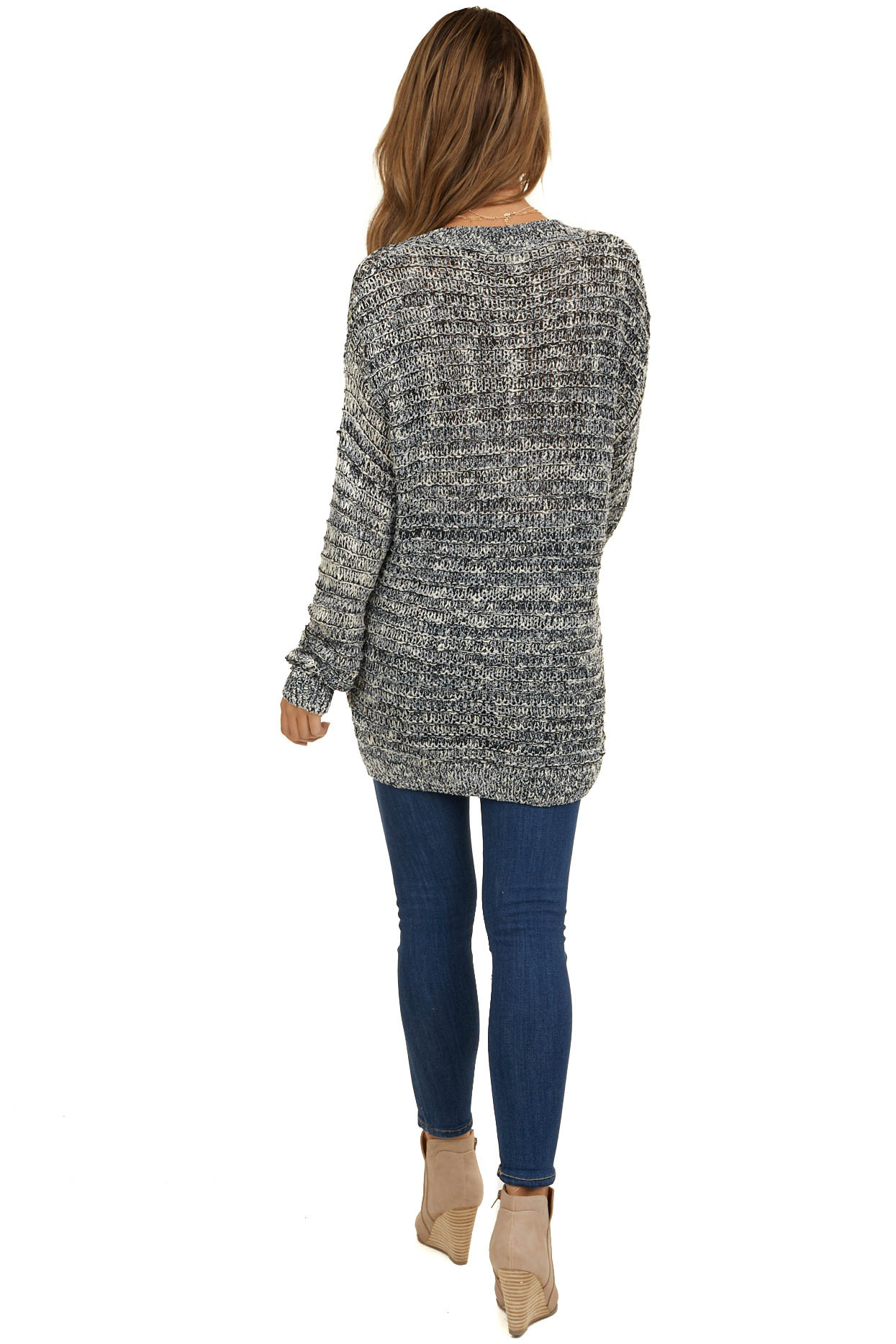 Black and Ivory Loose Knit Sweater with Ribbed Trim