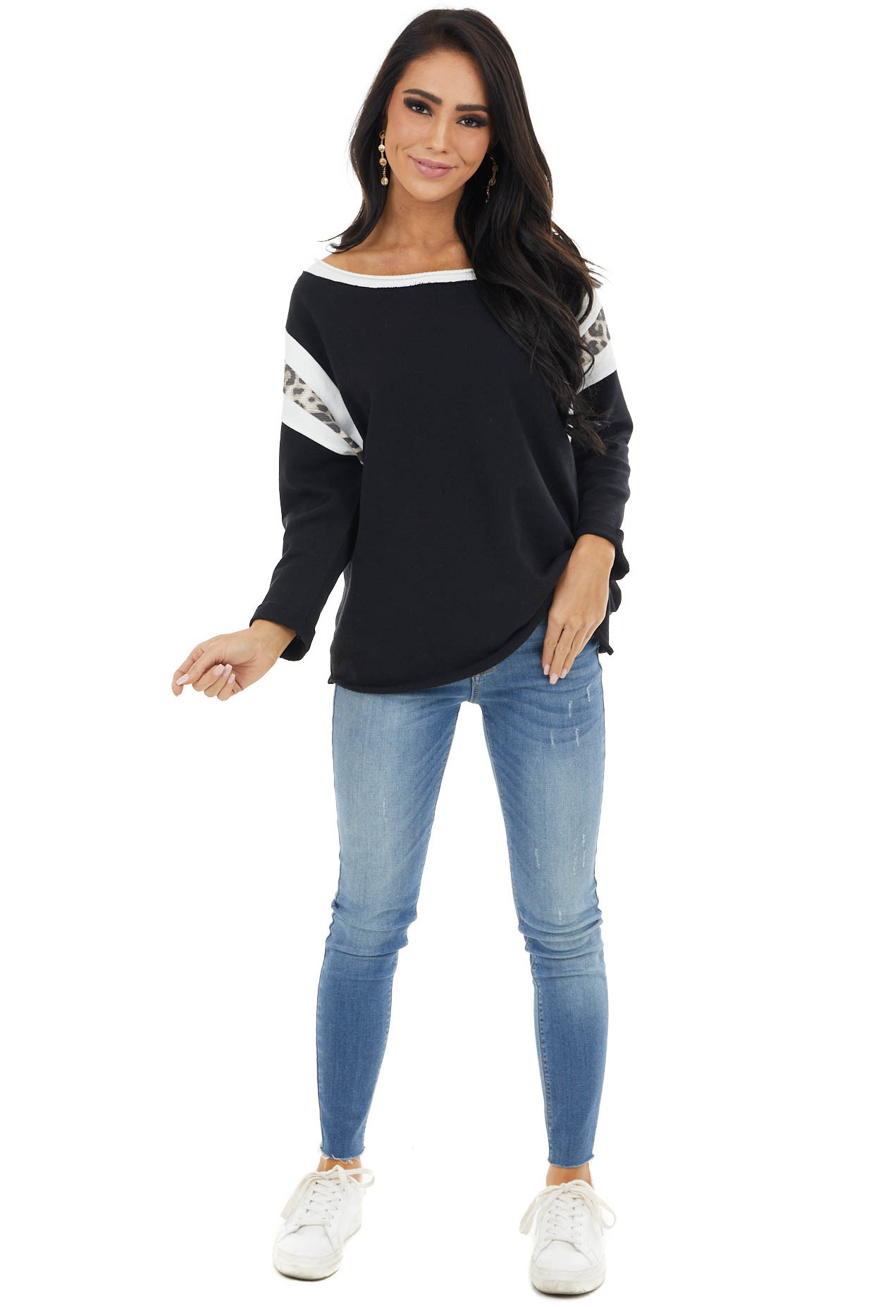 Black 3/4 Sleeve Knit Top with Leopard Print Details