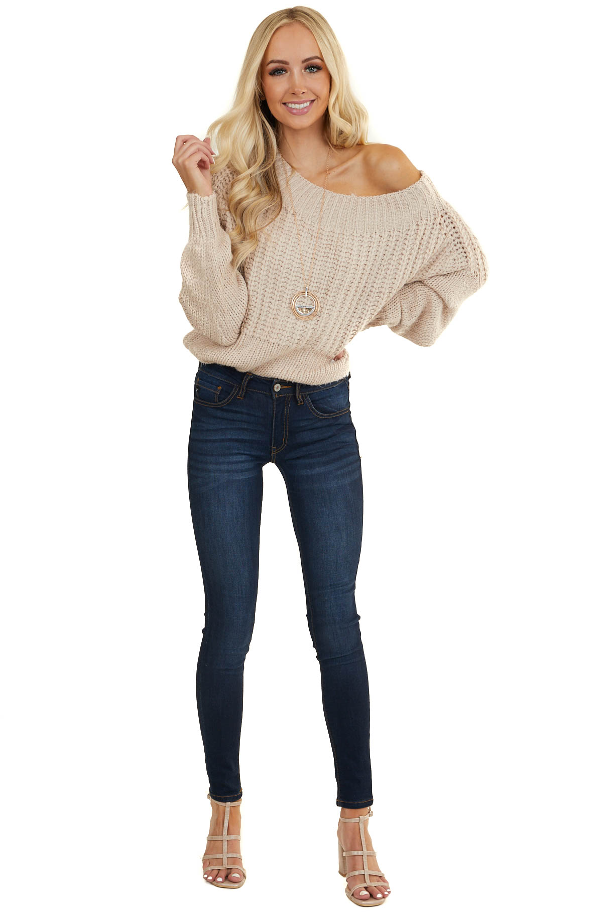 Dusty Rose Boat Neck Cable Knit Sweater with Ribbed Trim