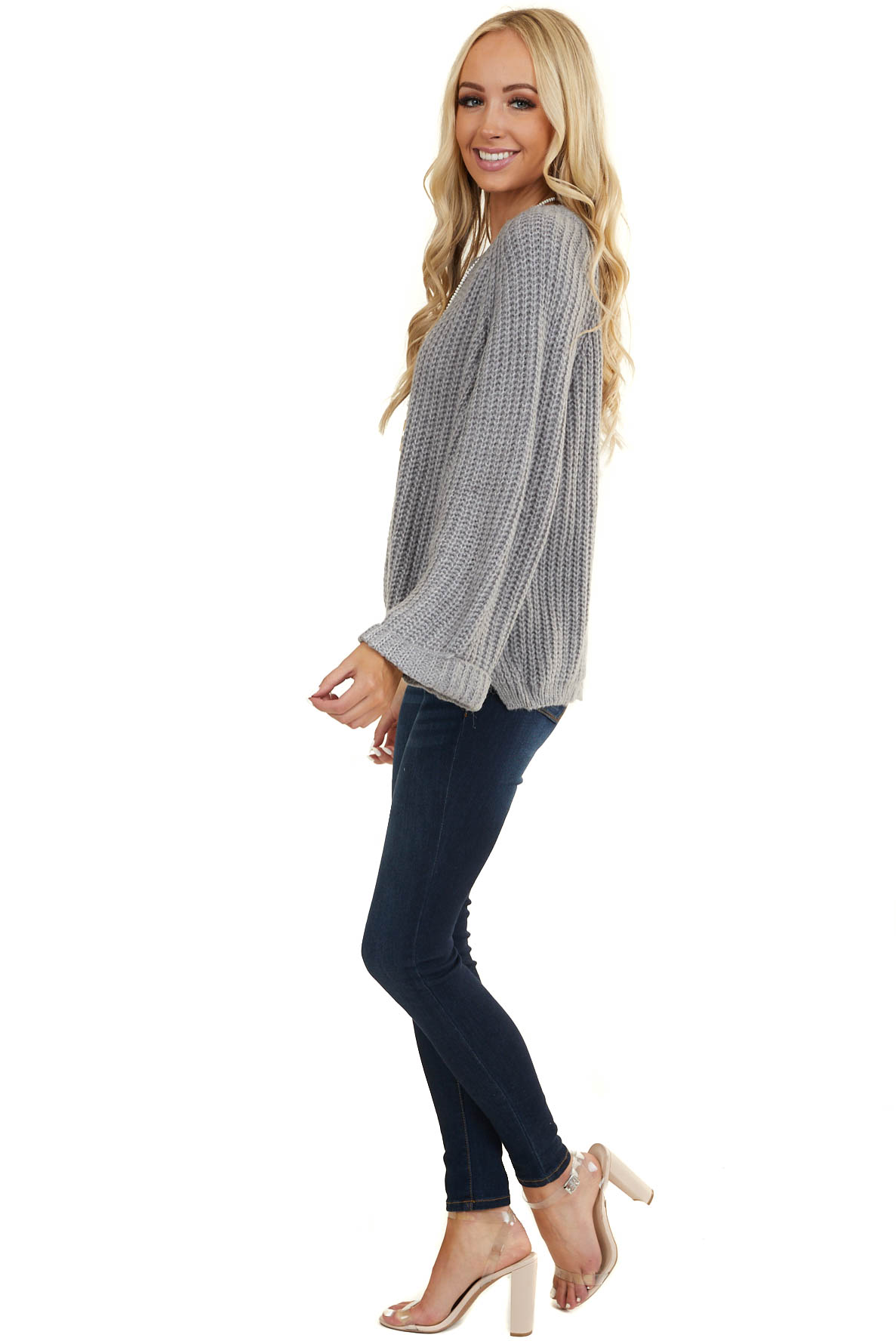 Stormy Grey Oversized Sweater with Long Cuffed Flowy Sleeves
