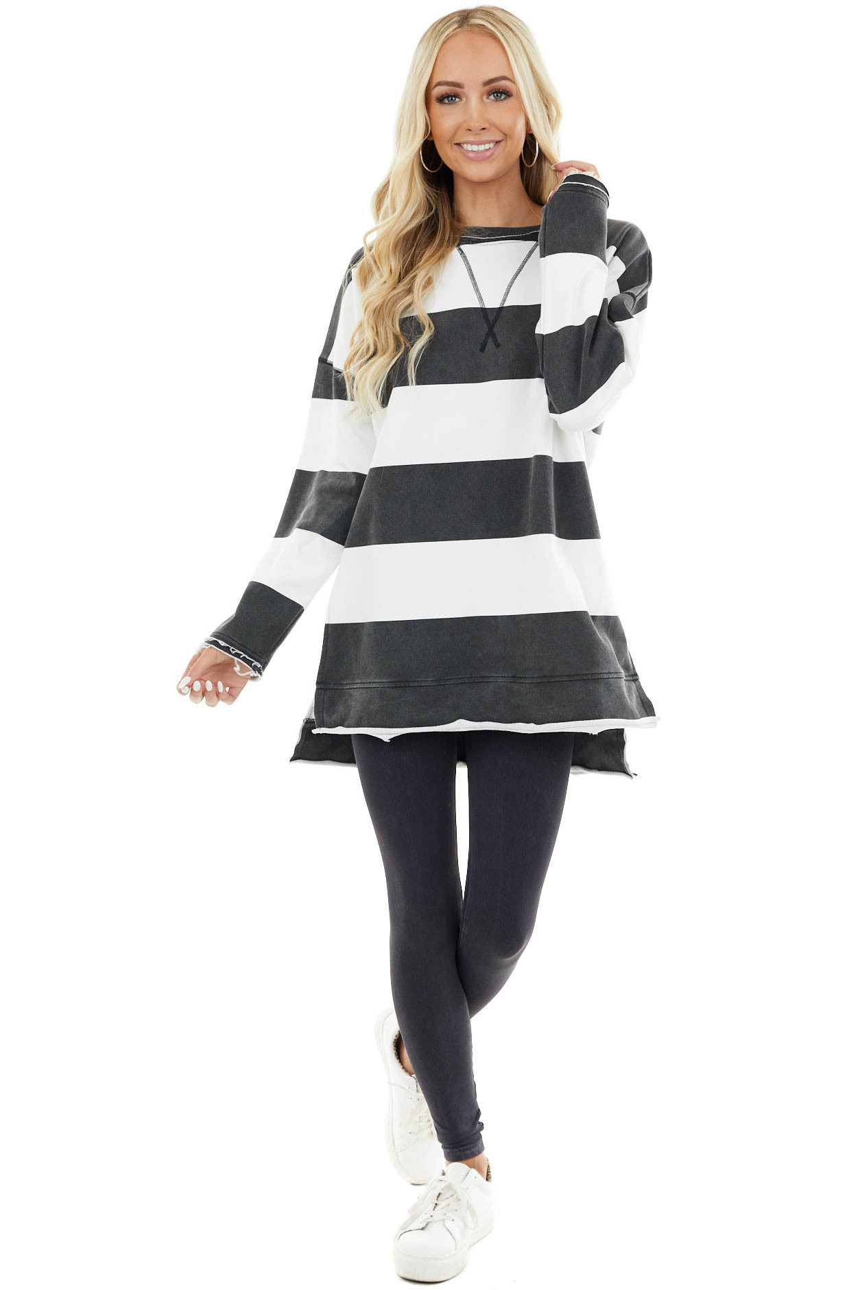 Charcoal and White Striped Print Long Sleeve Knit Top