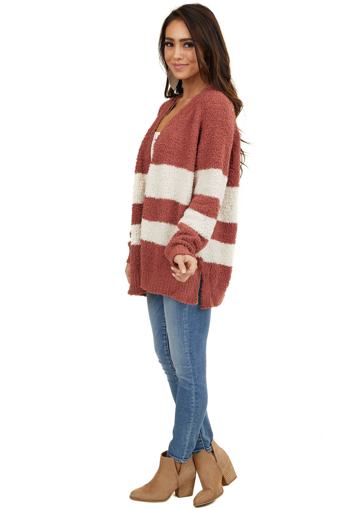 Marsala and Ivory Stripe Open Front Cardigan with Side Slits