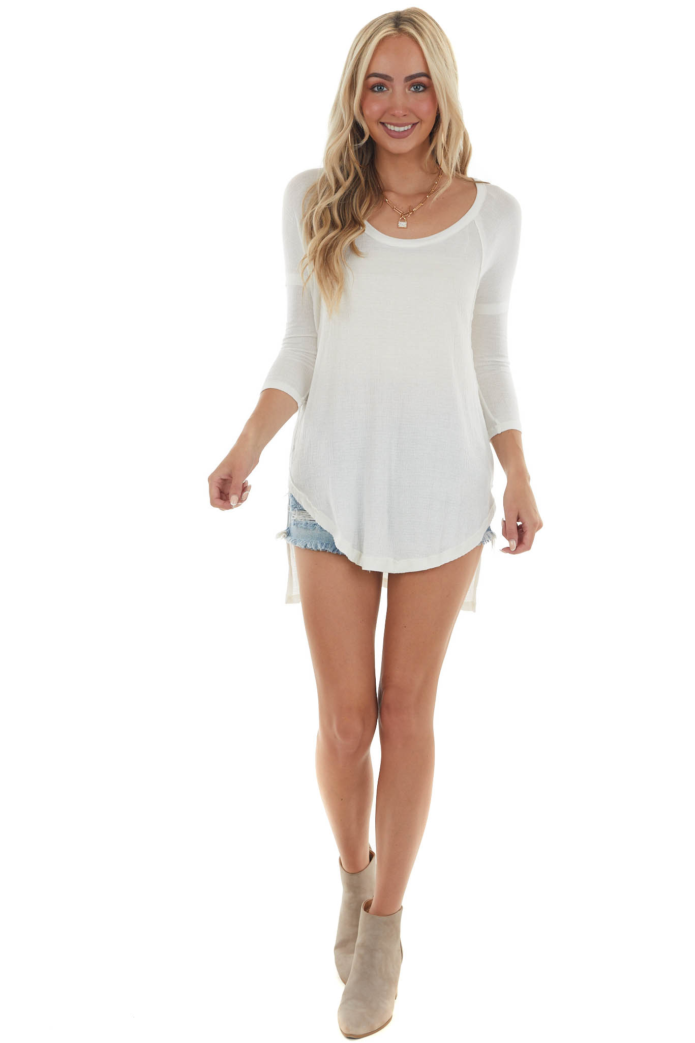 Off White Lightweight 3/4 Sleeve Top with High Low Hem