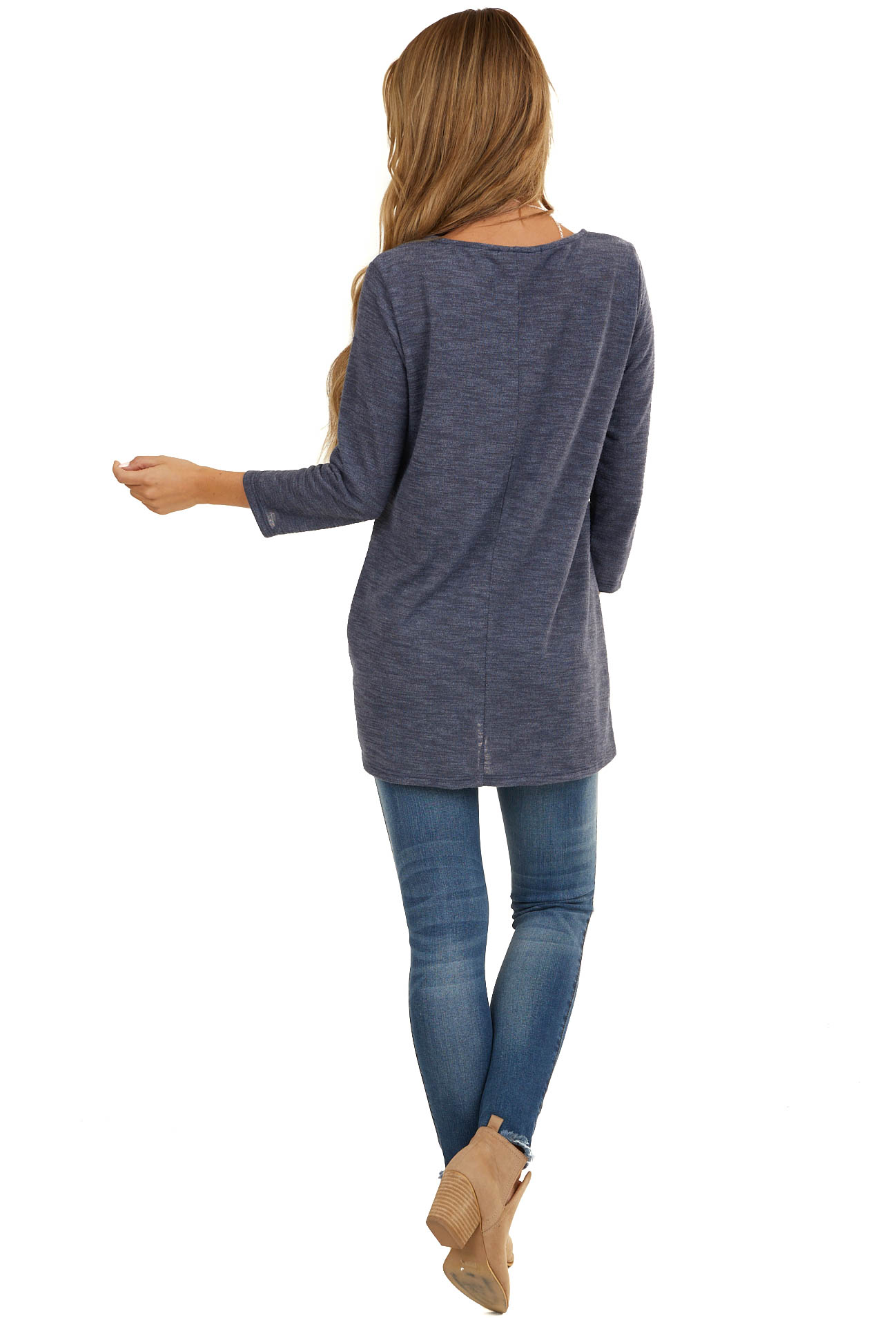 Heathered Navy Blue 3/4 Sleeve Top with Twisted Hem Detail