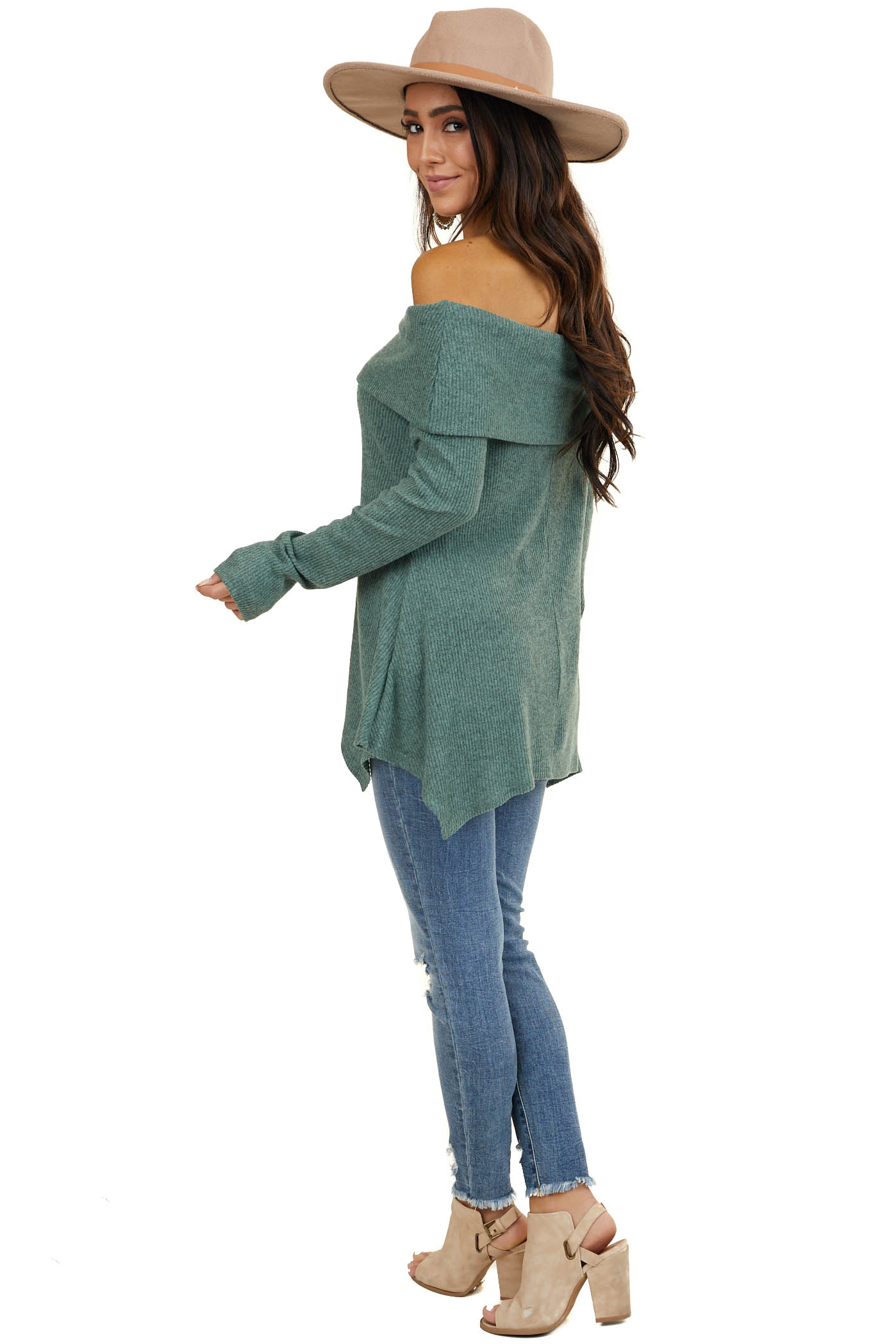 Bright Sage Cowl Off the Shoulder Top with Shark Bite Hem