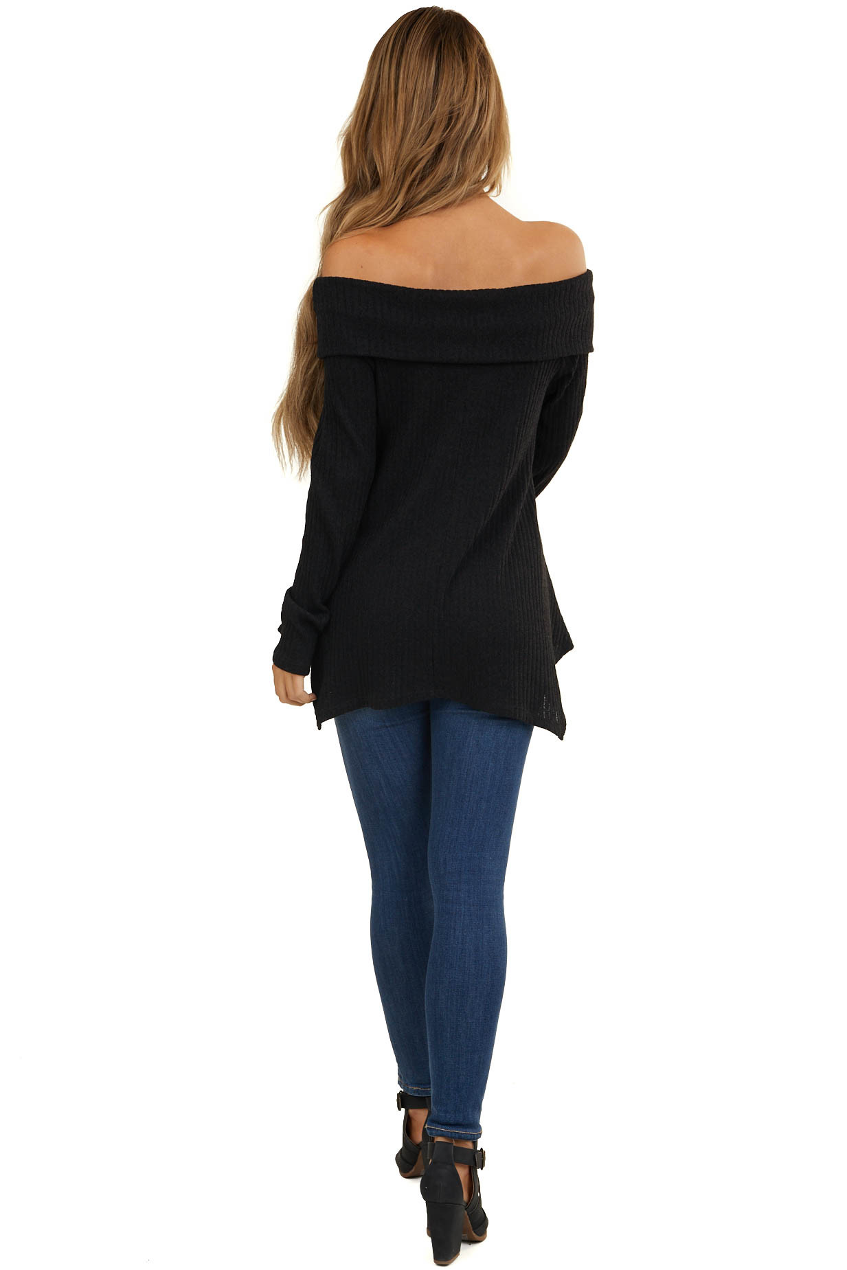 Black Folded Off the Shoulder Ribbed Top with Long Sleeves