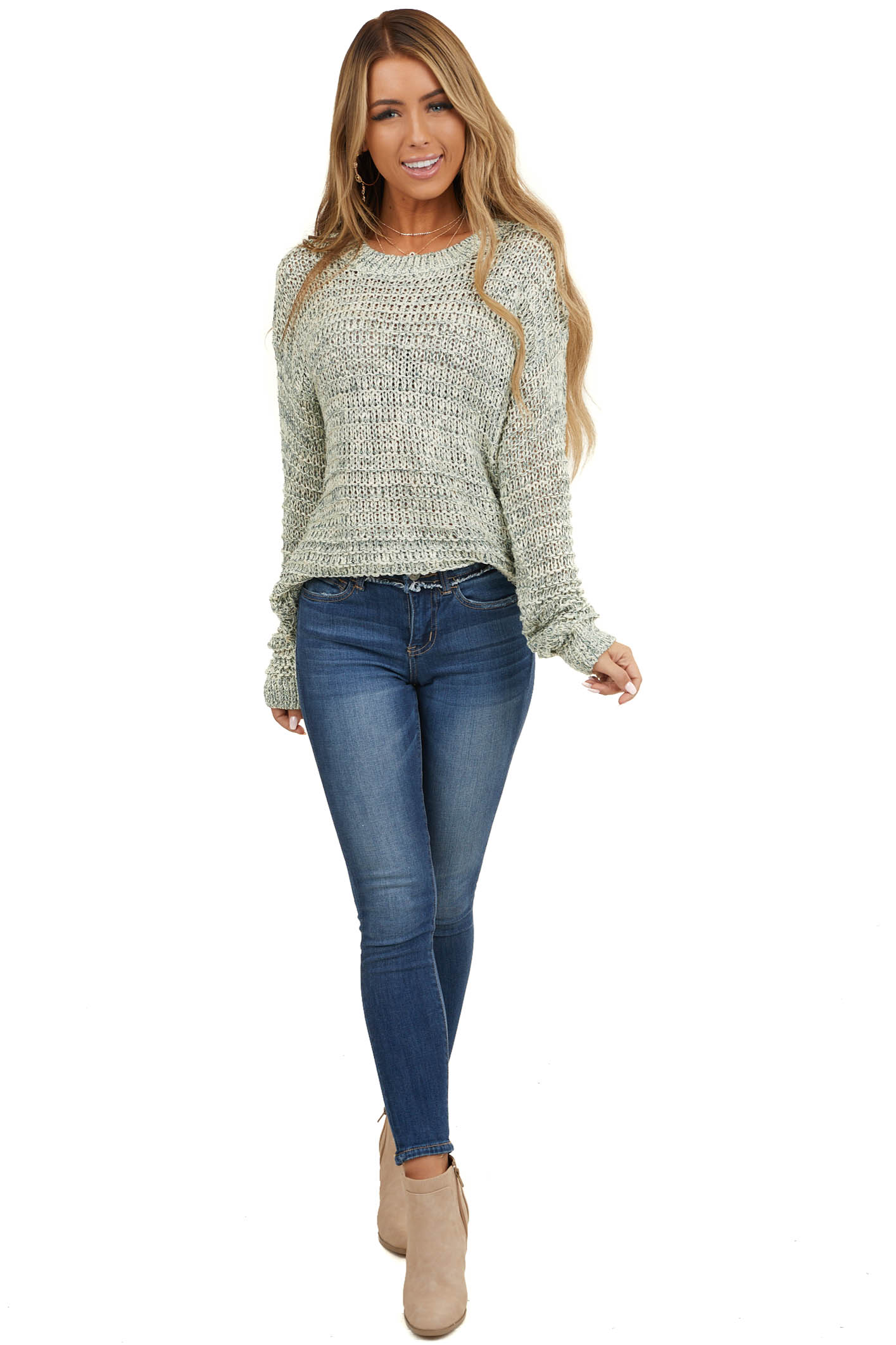Pine and Cream Loose Knit Sweater with Ribbed Trim
