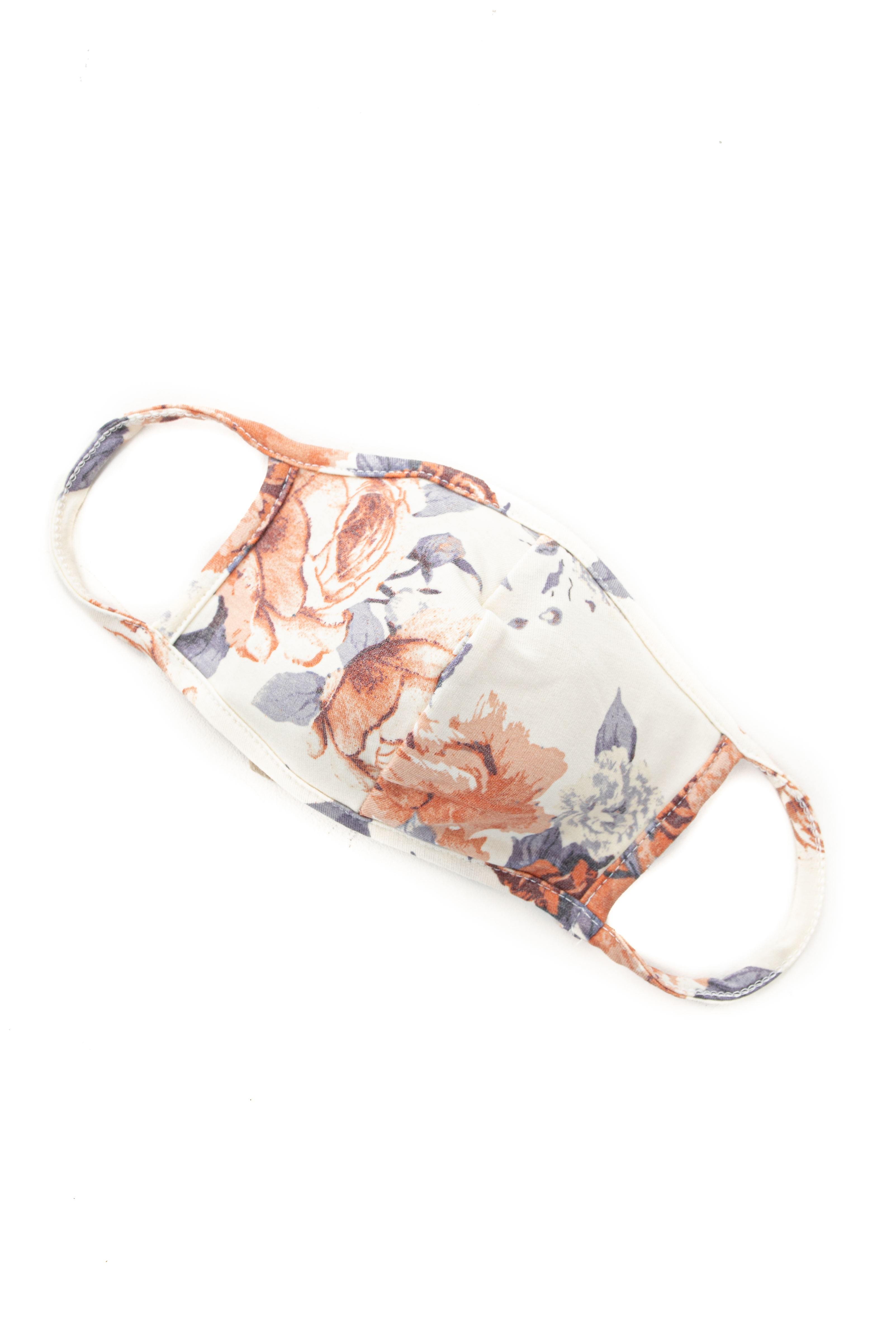 Cream Floral Print Washable Soft Knit Face Mask
