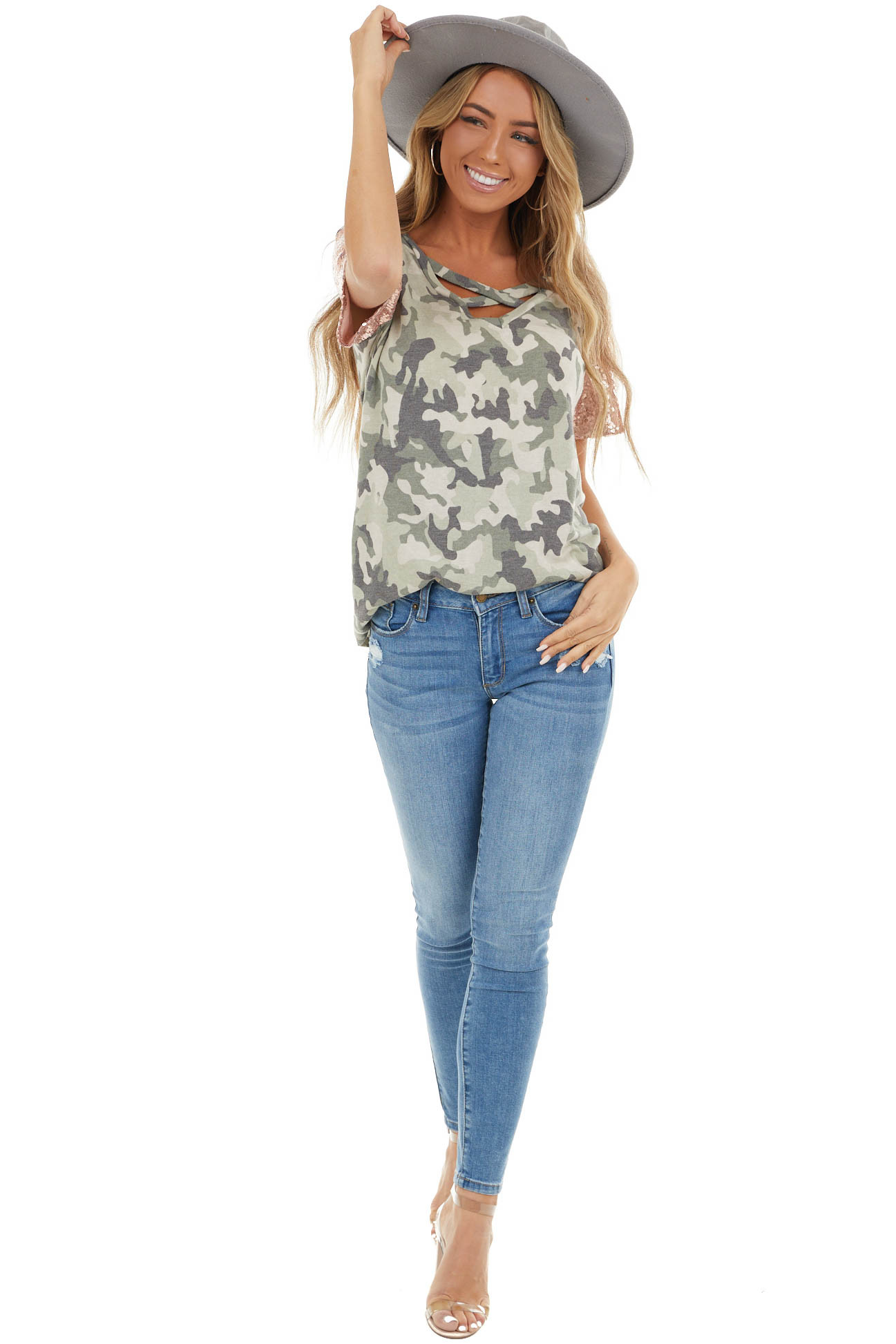Dusty Olive Camo V Neck Knit Top with Sequin Shoulders