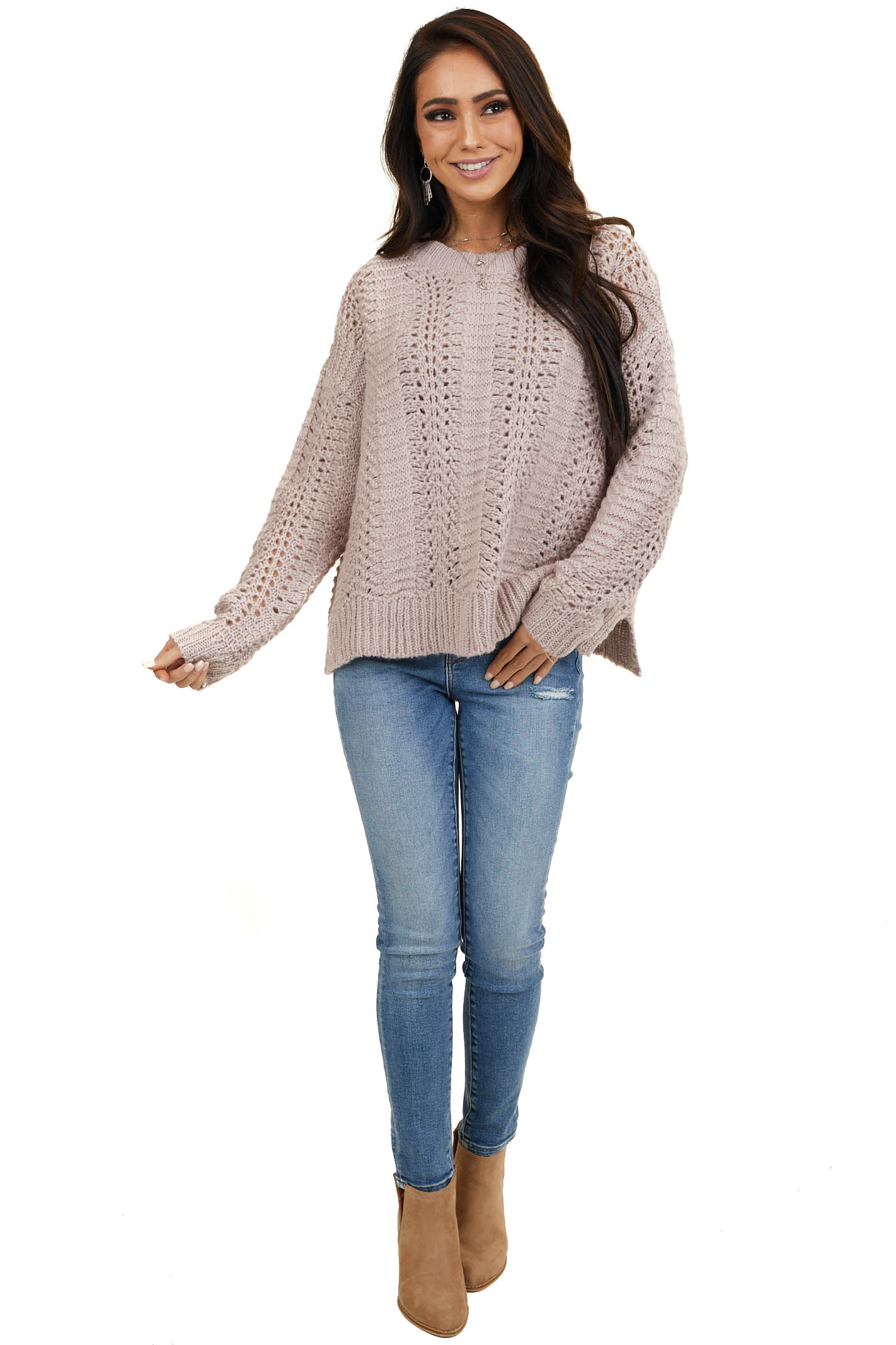 Light Mauve Loose Knit Fuzzy Sweater with Ribbed Trim