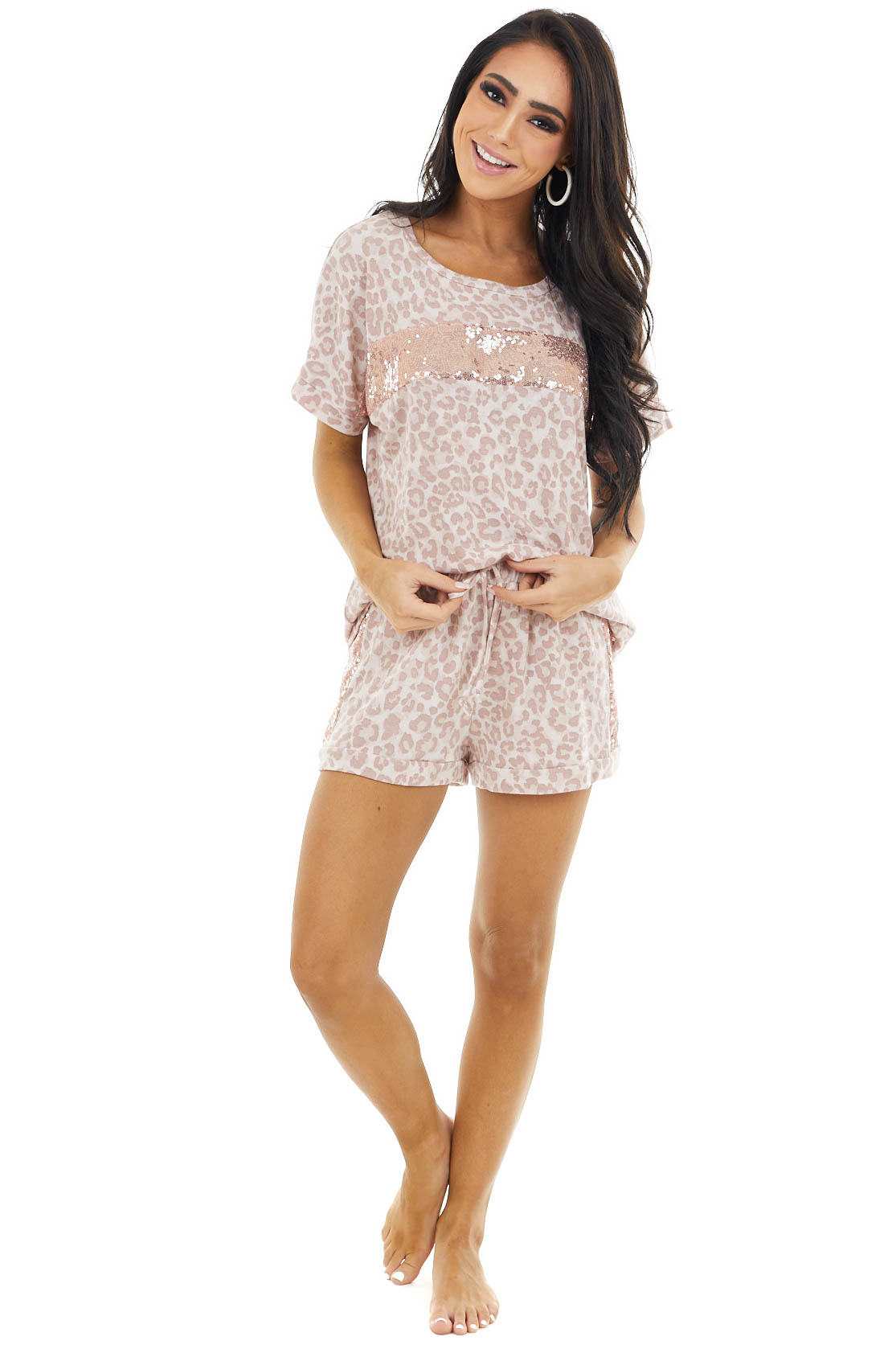 Dusty Blush Leopard Print Sequin Short Sleeve and Shorts Set