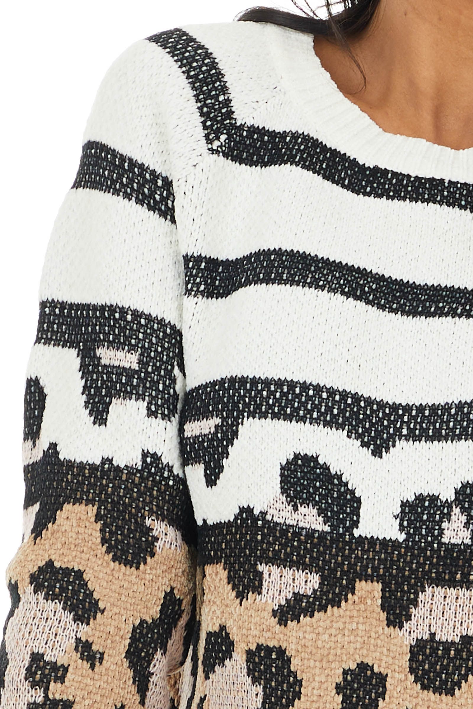 Cream and Camel Leopard Print Chenille Knit Sweater