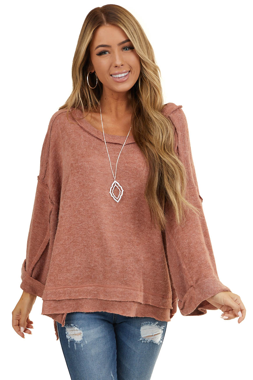 Marsala Loose Fit Bell Sleeve Top with Raw Edge Details