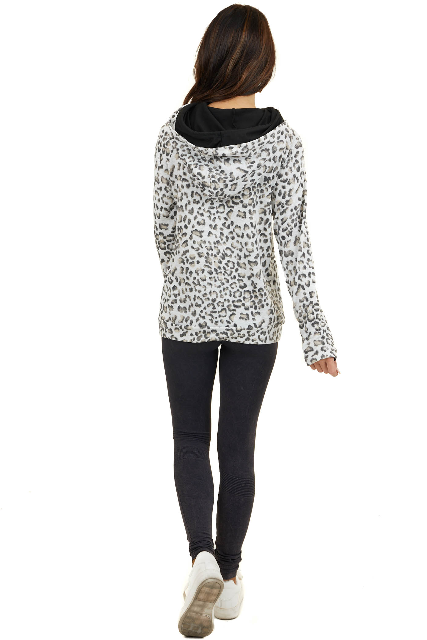 Ivory Leopard Hoodie with Black Contrast and Side Zipper