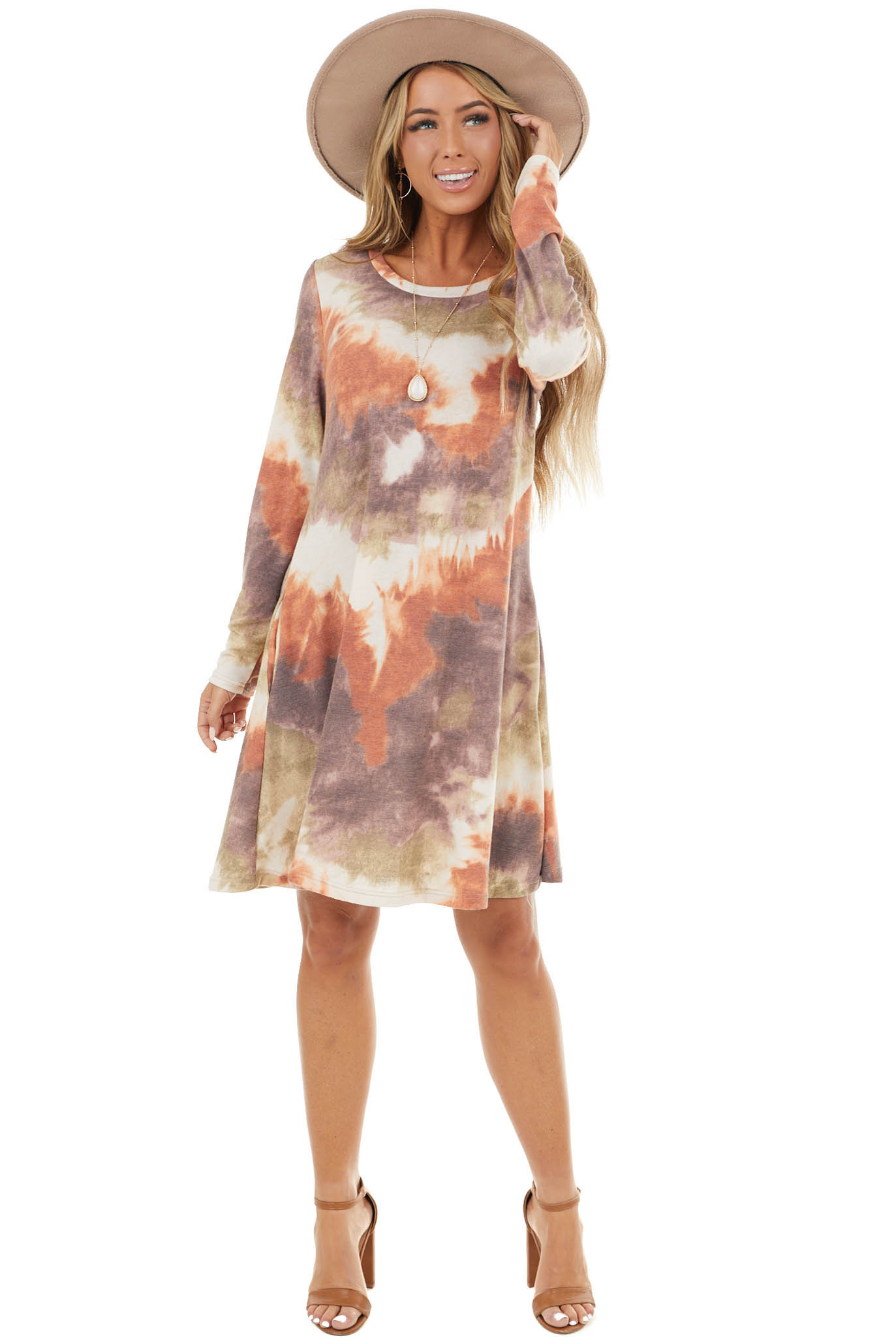Lilac Multicolor Tie Dye Long Sleeve Knit Short Dress