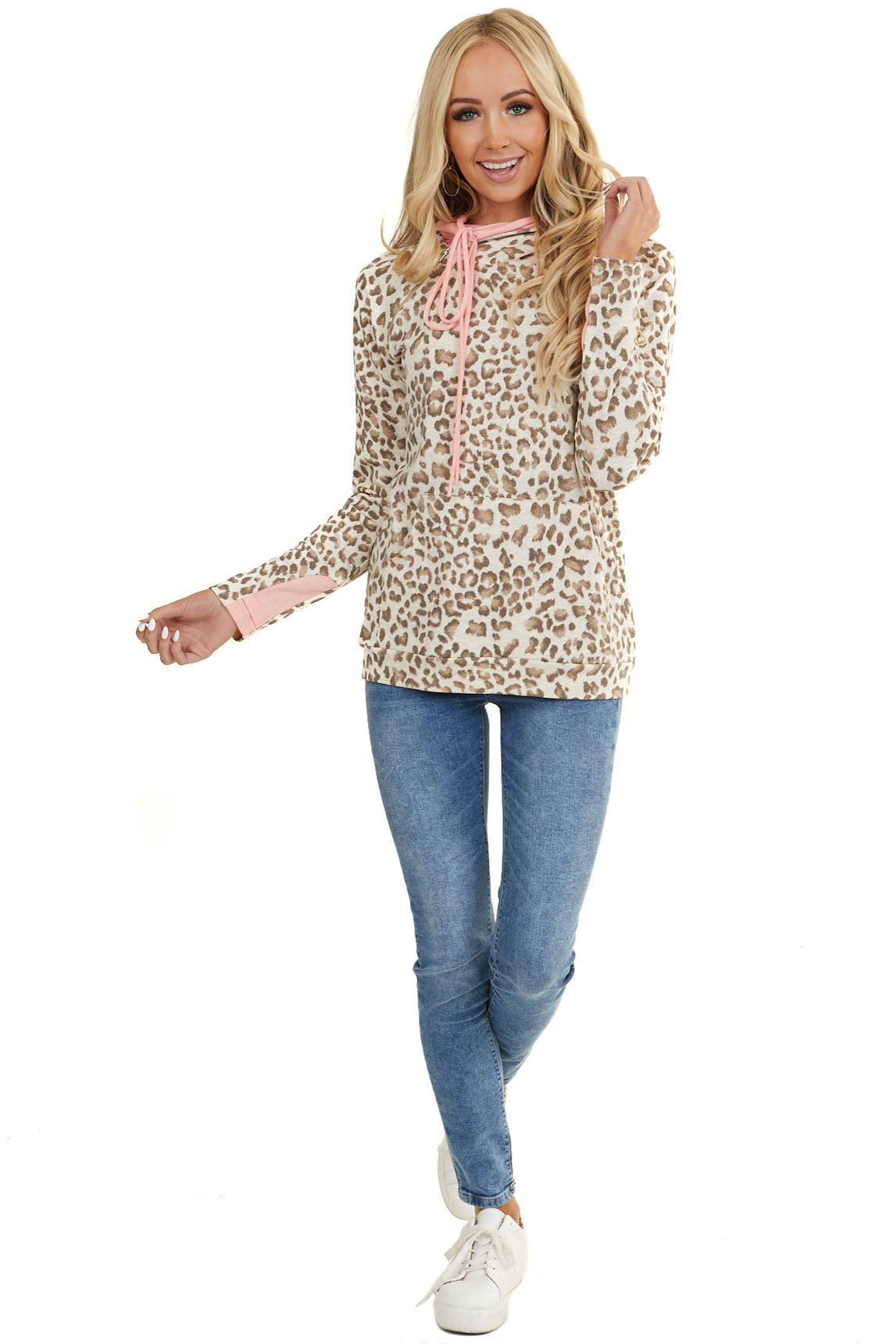 Ivory Leopard Hoodie with Pink Contrast and Side Zipper