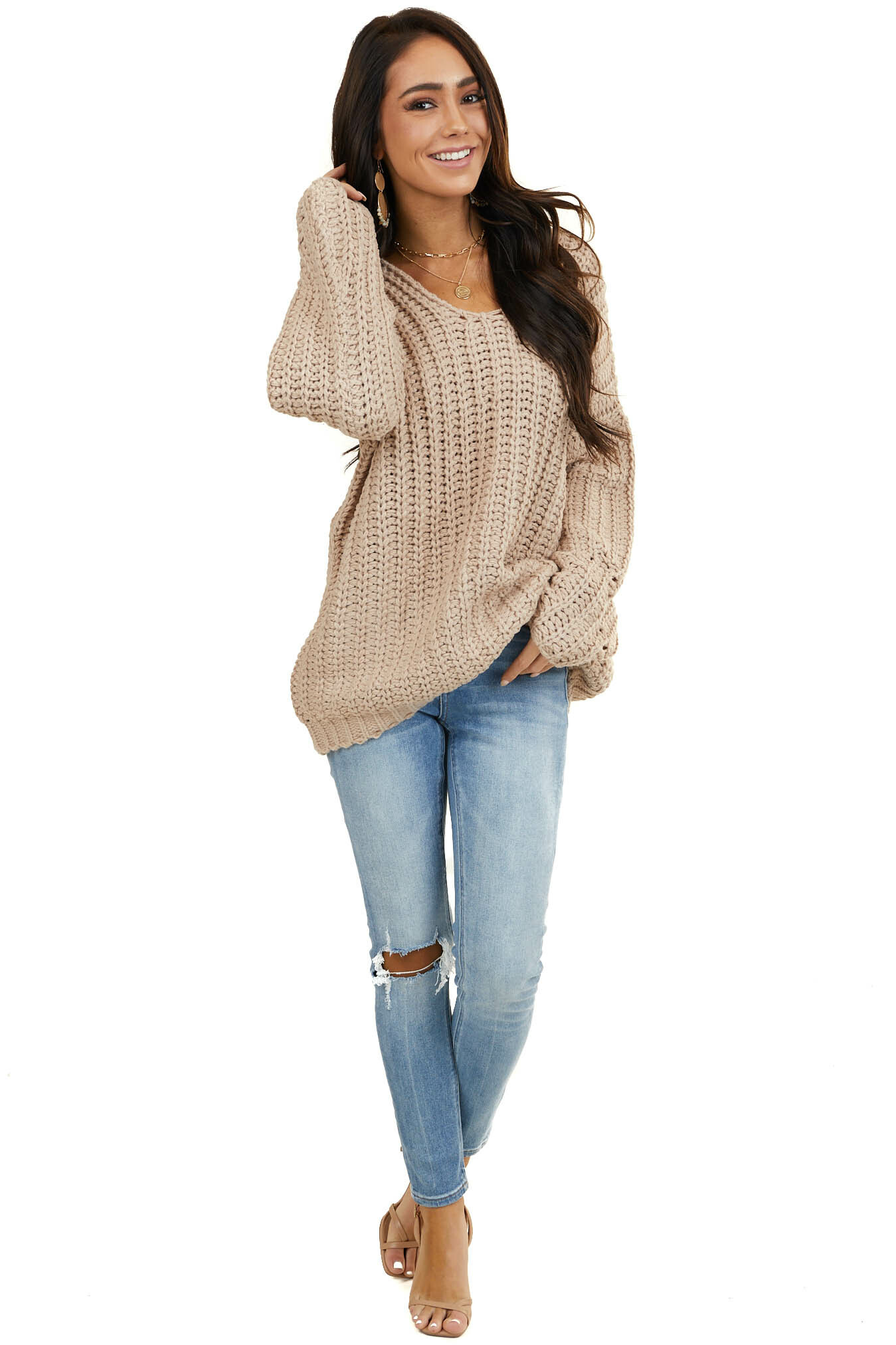 Dusty Rose Chunky Drop Shoulder Sweater with Deep V Neck