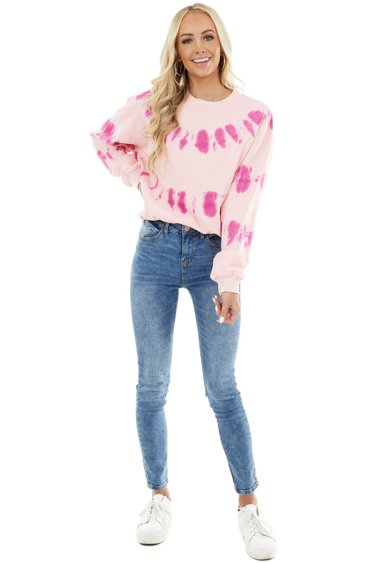 Baby Pink and Fuchsia Tie Dye Sweatshirt with Ribbed Detail
