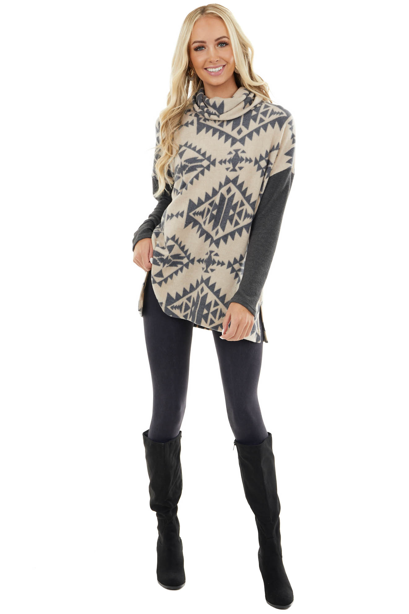 Oatmeal and Stormy Aztec Print Oversize Top with Cowl Neck