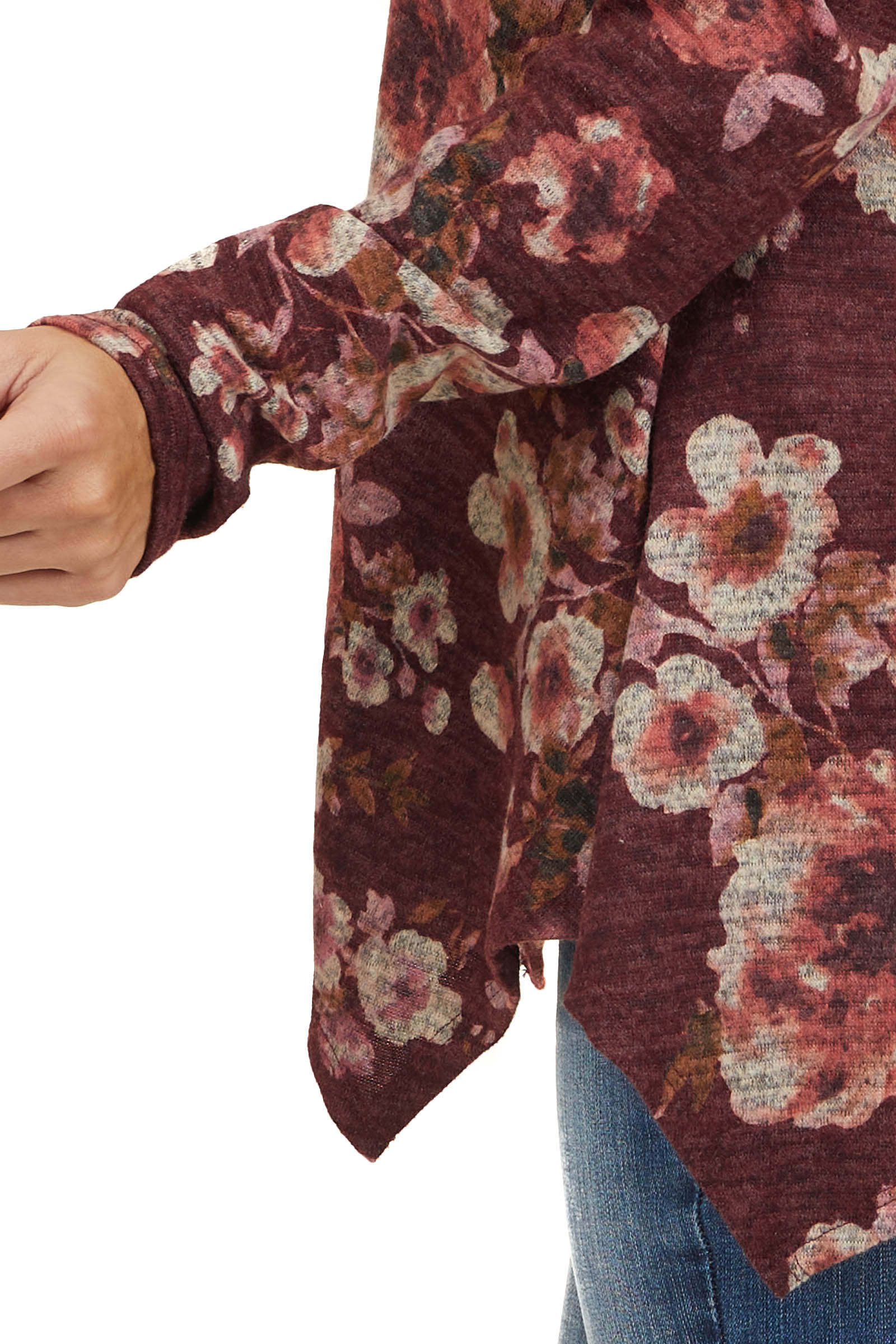 Wine Floral Print Long Sleeve Top with Folded Off Shoulder