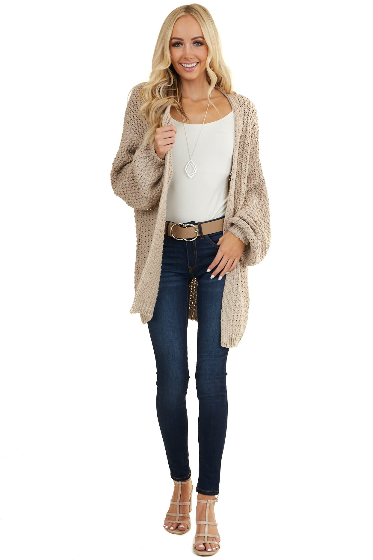 Latte Chunky Loose Knit Cardigan with Long Bubble Sleeves