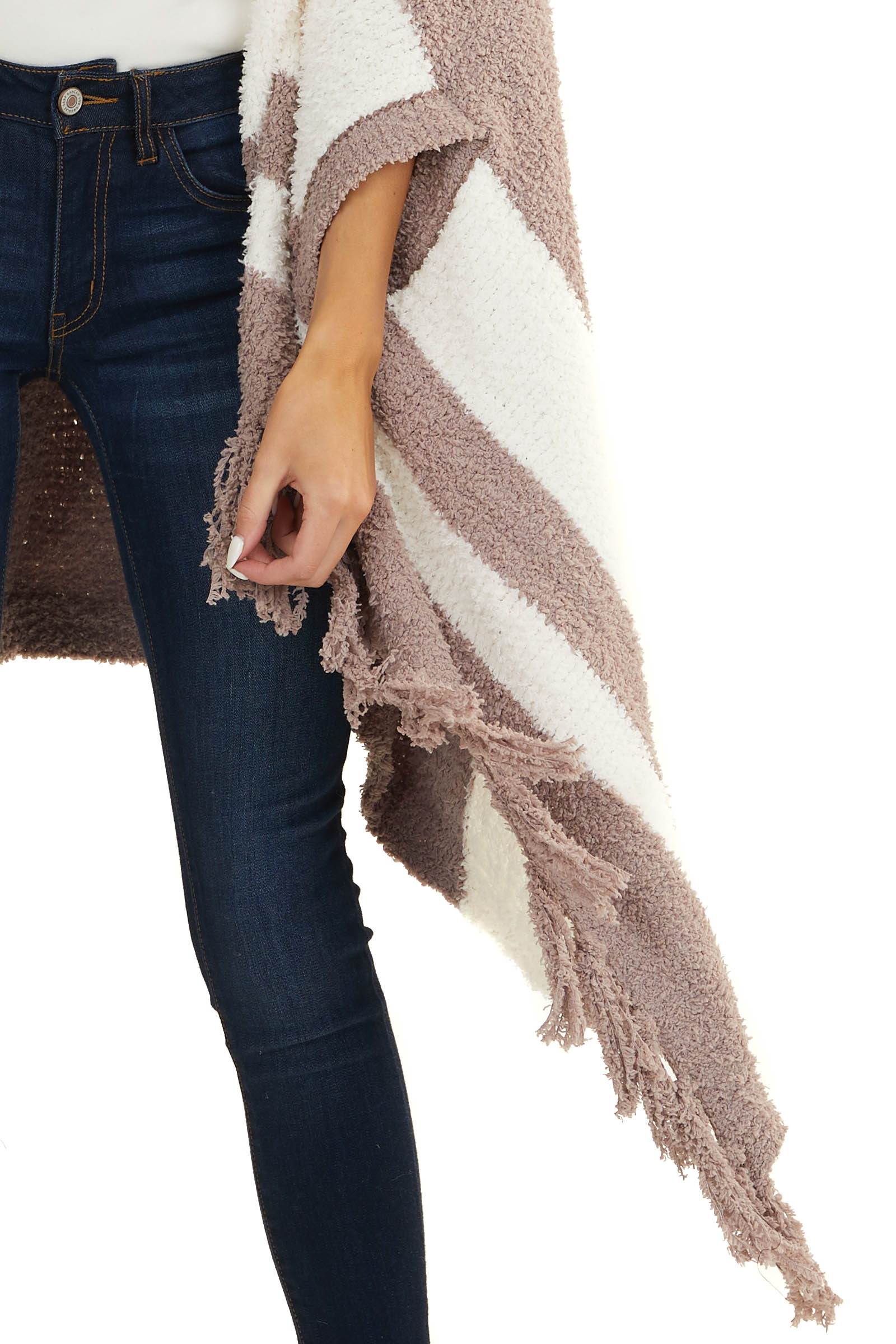 Dusty Rose Super Soft Poncho with Stripes and Fringe Details